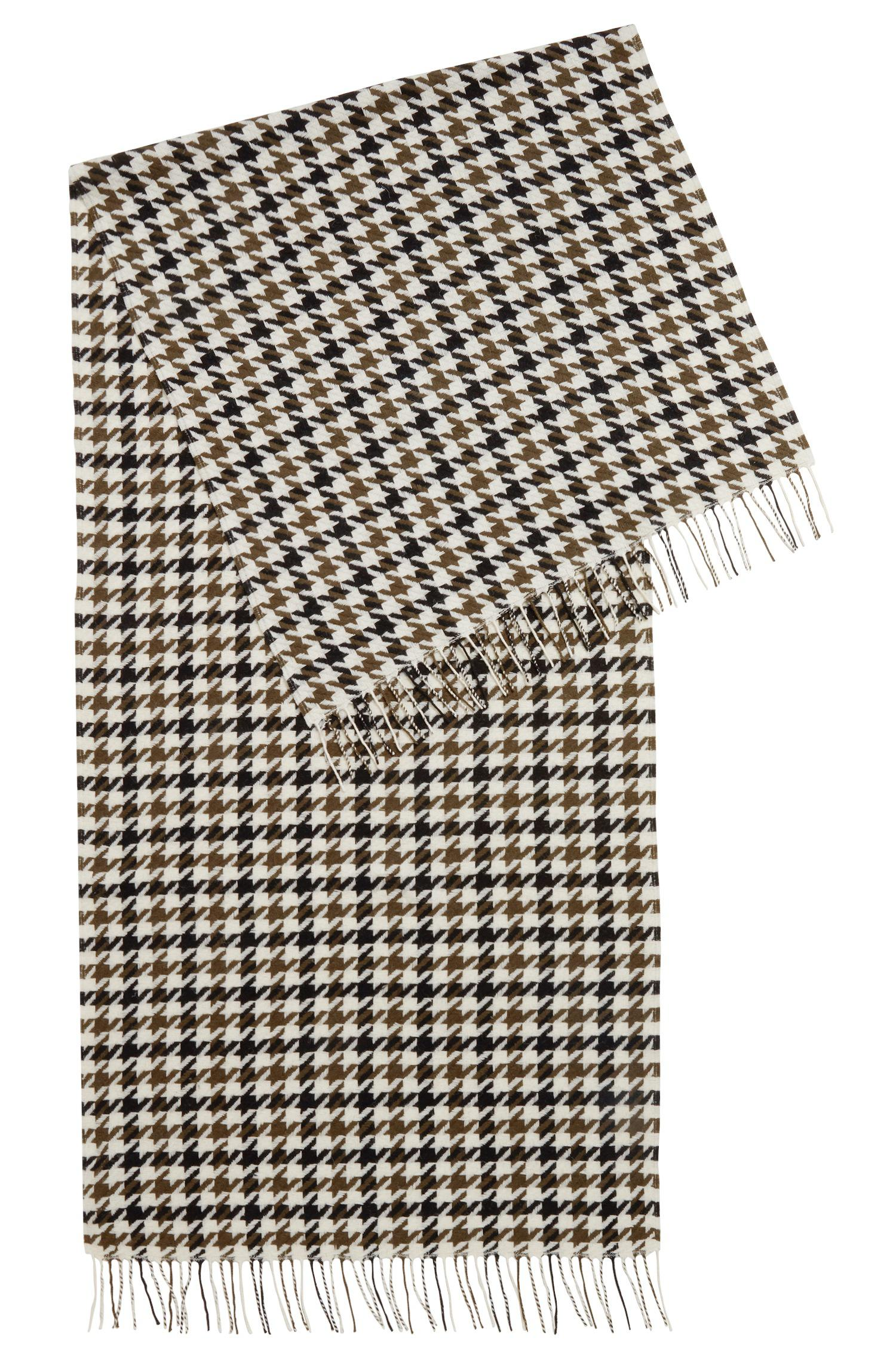 BOSS Three-colour Scarf In Virgin Wool With Houndstooth Check - Lyst 467d86c10ac