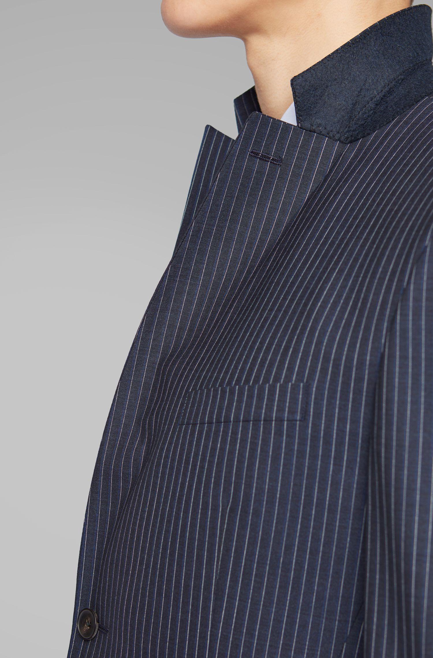 b440450f4 BOSS Extra-slim-fit Pinstripe Suit In Virgin Wool in Blue for Men - Lyst