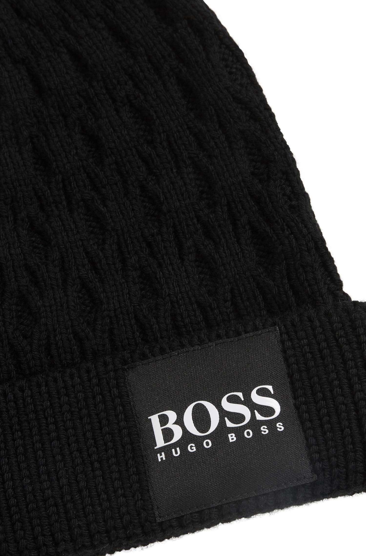 c4747e44da6d6 BOSS Knitted Beanie Hat In Structured Virgin Wool in Black for Men ...
