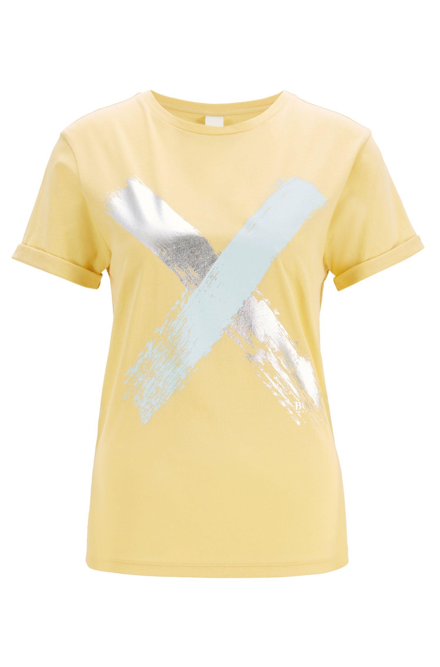 58ef05b96 BOSS Relaxed-fit T-shirt In Cotton With A Cross Print in Yellow - Lyst