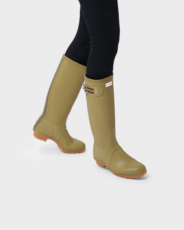 9210db418 HUNTER Women's Original Sissinghurst Tall Rain Boots in Green - Lyst