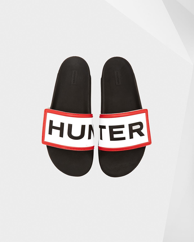 1206a5c9148562 Lyst - HUNTER Original Adjustable Logo Slide Sandals in Black - Save 62%