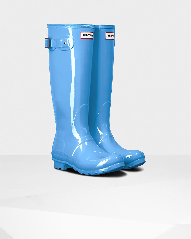 33d4d356e2159 Lyst - HUNTER Women s Original Tall Gloss Rain Boots in Blue - Save 33%