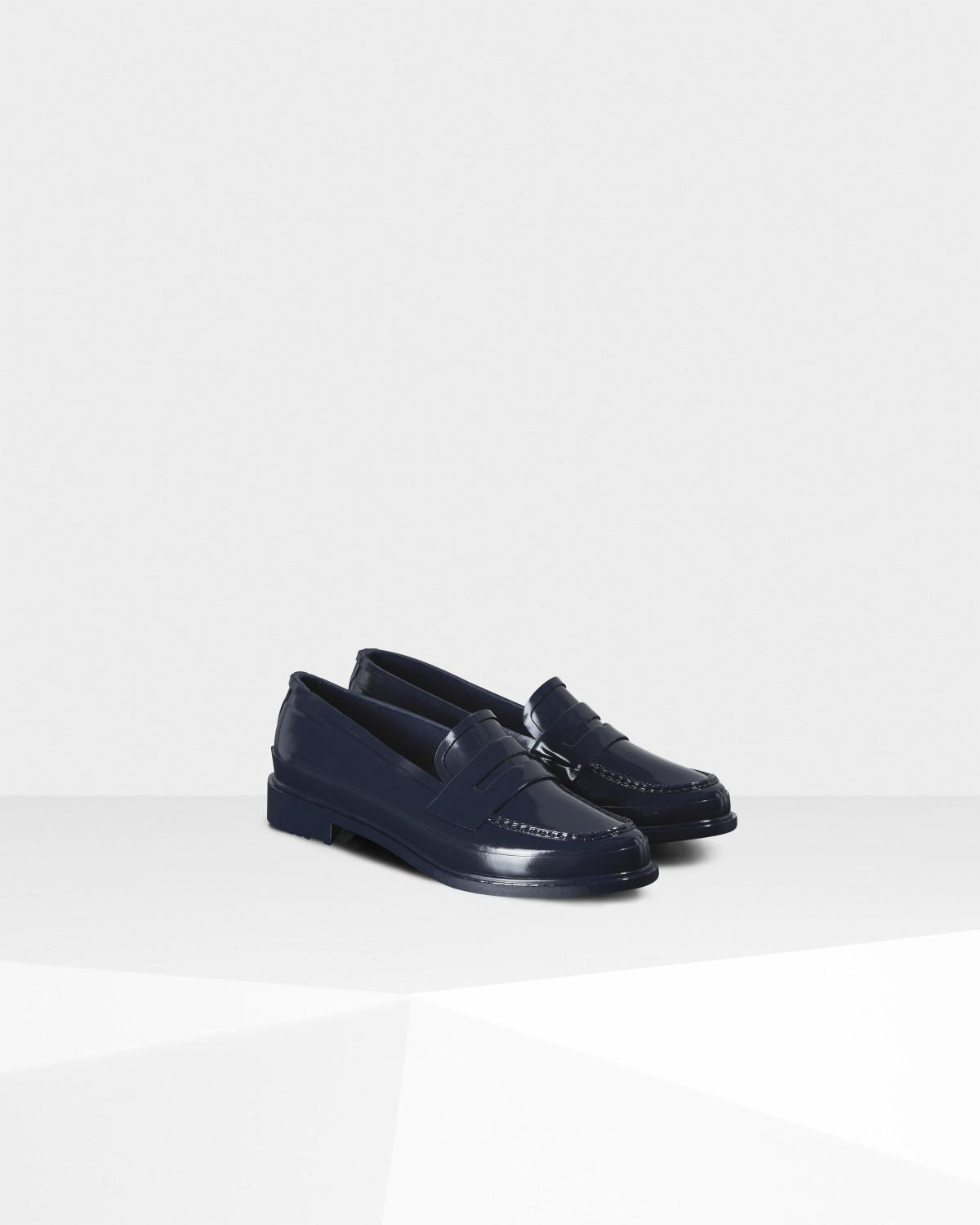 1bfc369cfbe2 Hunter Original Gloss Penny Loafers in Blue - Lyst