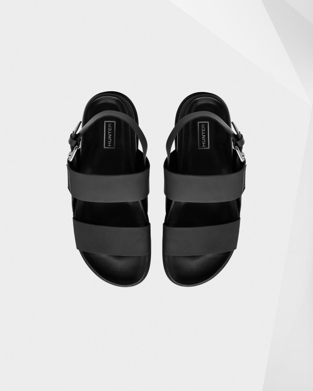 5568a47263c7 Lyst - HUNTER Men s Original Double Strap Leather Sandals in Black ...