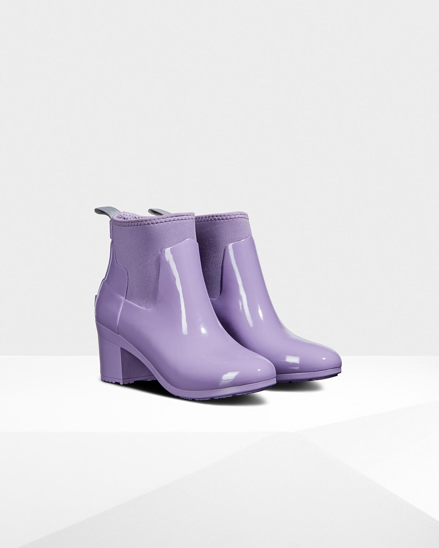 f226e426e89 Lyst - HUNTER Refined Gloss Mid Heel Boots in Purple