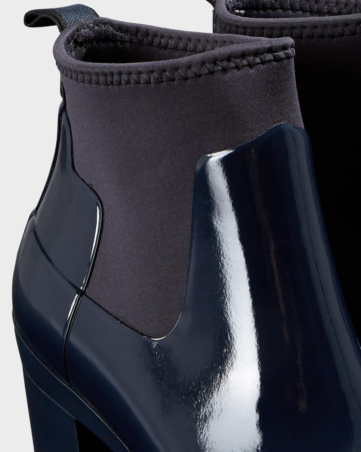 3894cd2243e Lyst - HUNTER Refined Gloss Mid Heel Boots in Blue