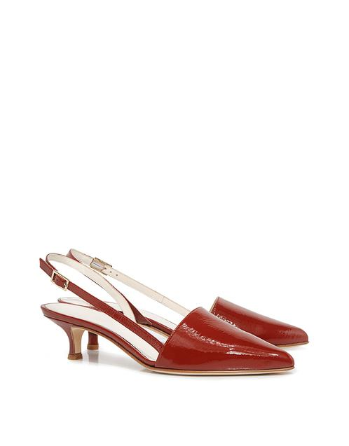 cea3a10fbb2 Lyst - Tibi Simon Crinkle Patent Pointed-toe Slingback Kitten Heels in Red  - Save 18%