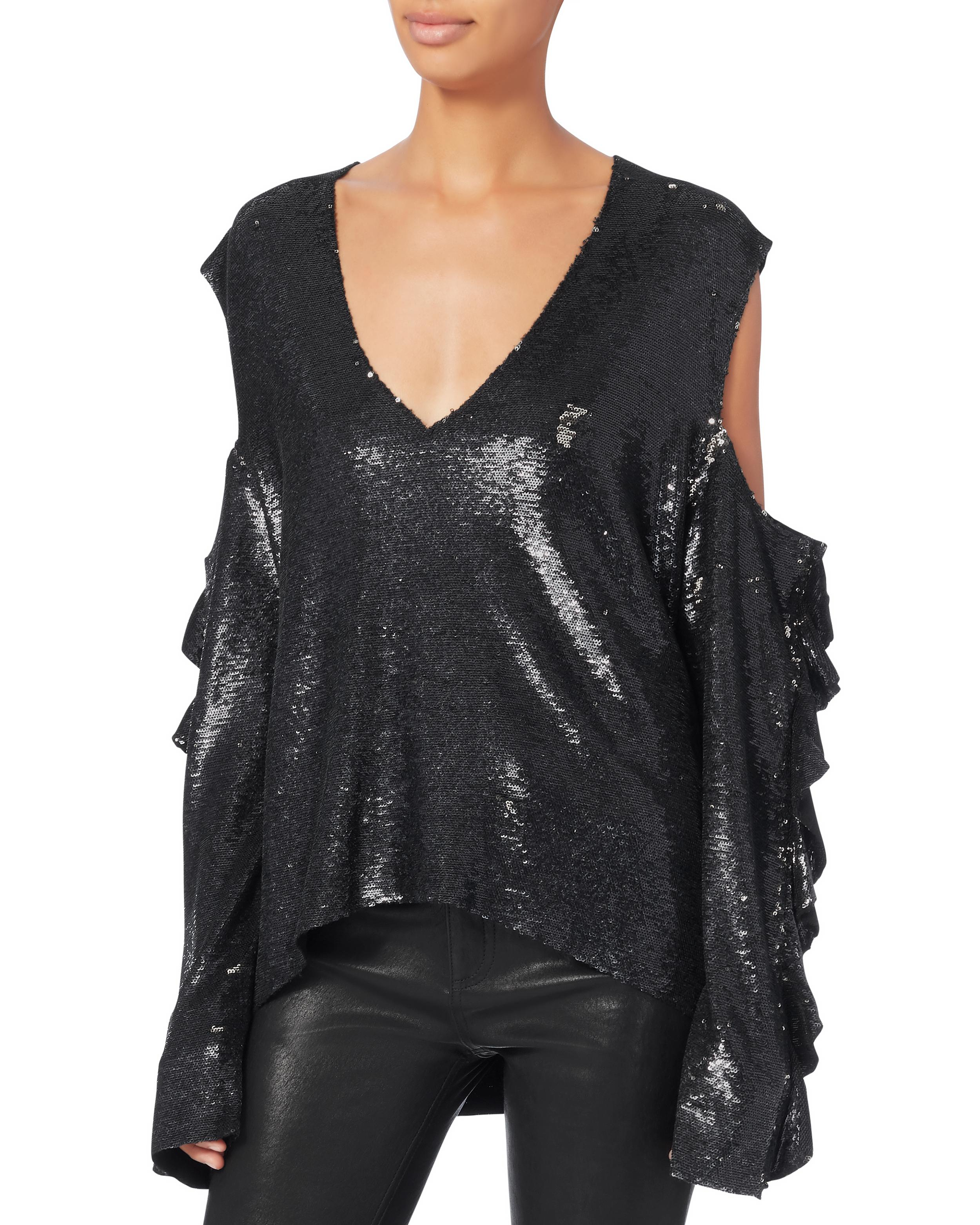 0296d7d197bb73 Lyst - IRO Waleast Cold Shoulder Sequin Top in Black