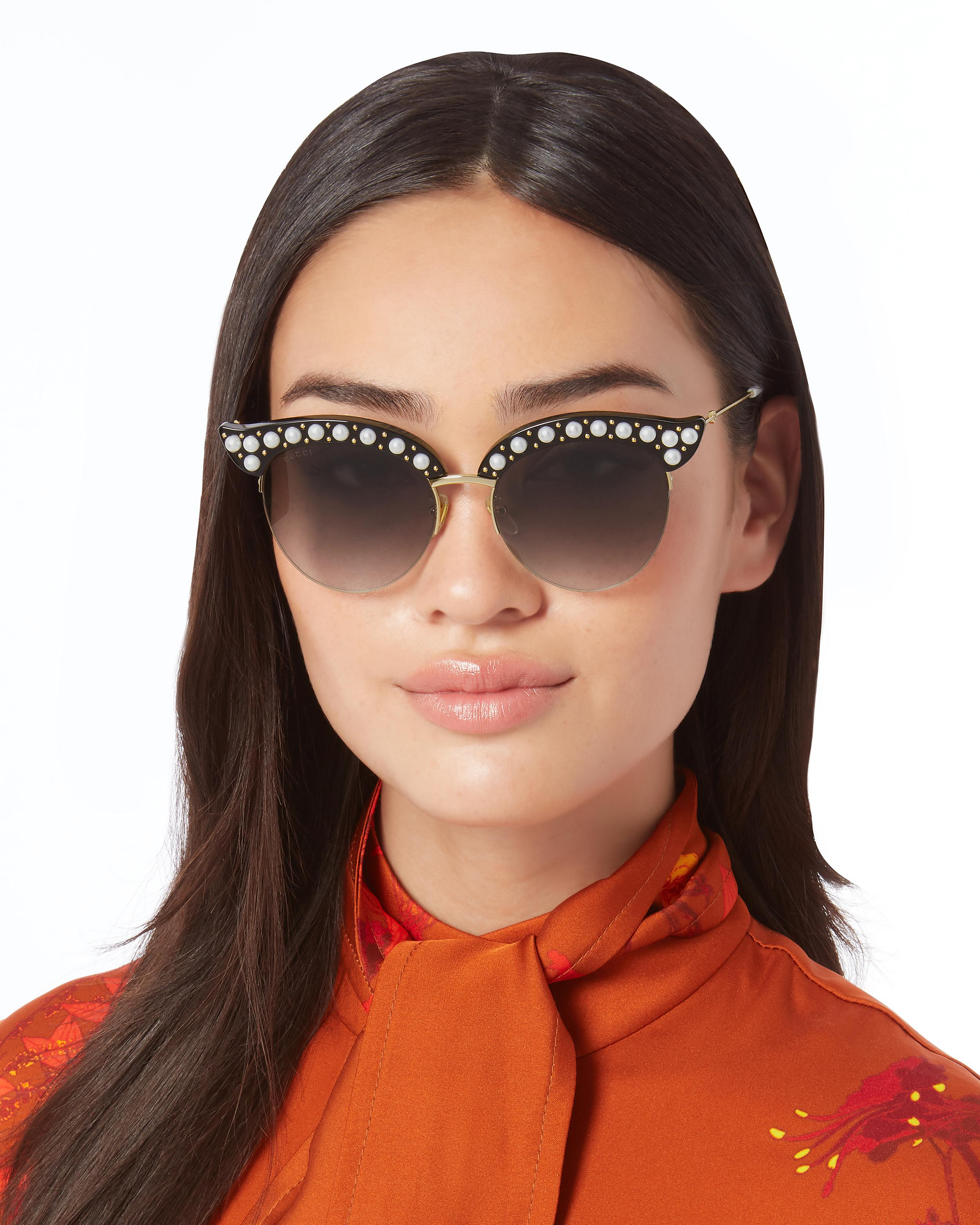 3479d93066 Gucci Faux Pearl-embellished Cat Eye Sunglasses in Metallic - Lyst