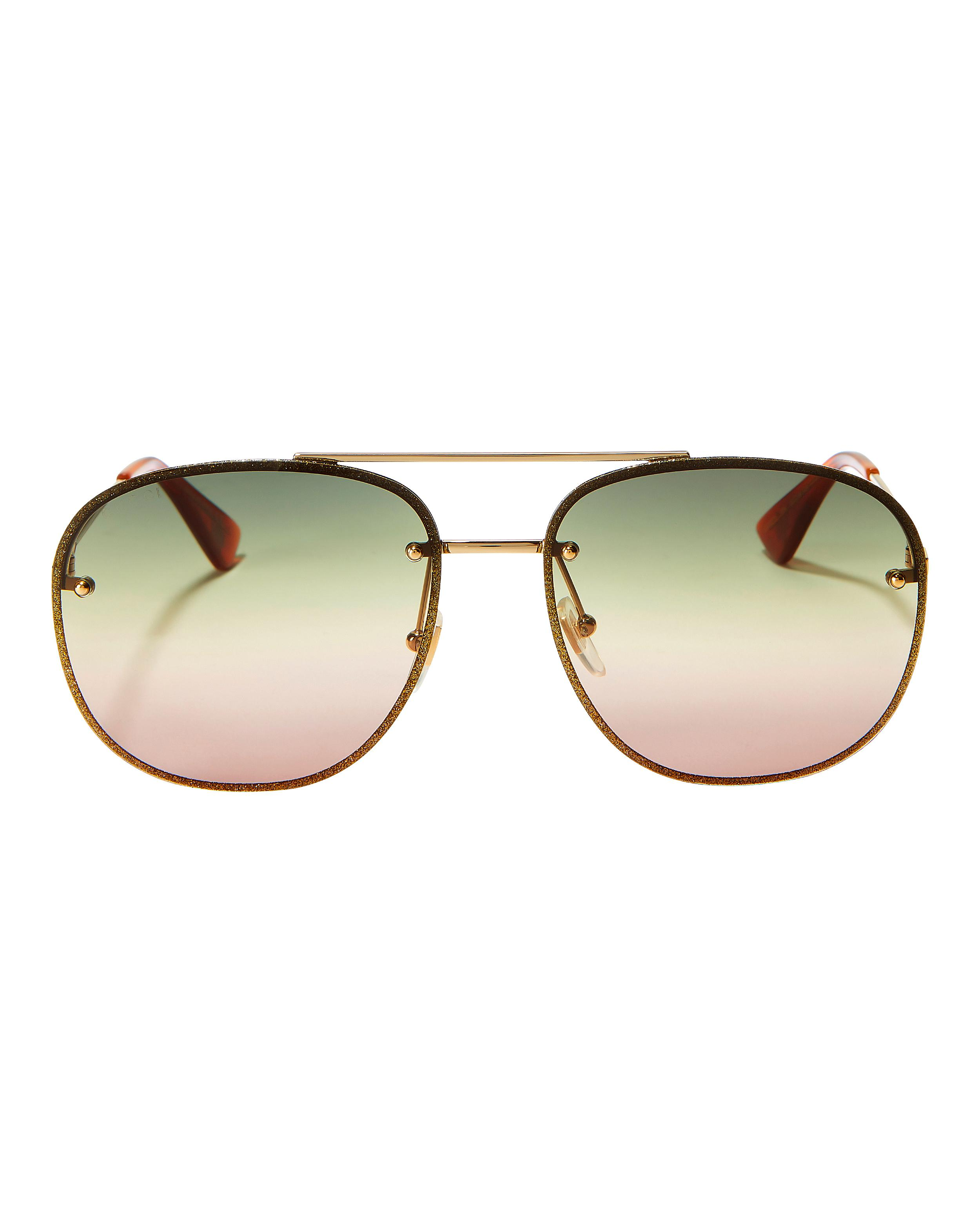 77d9797233663 Lyst - Gucci Glitter Aviator Sunglasses in Metallic