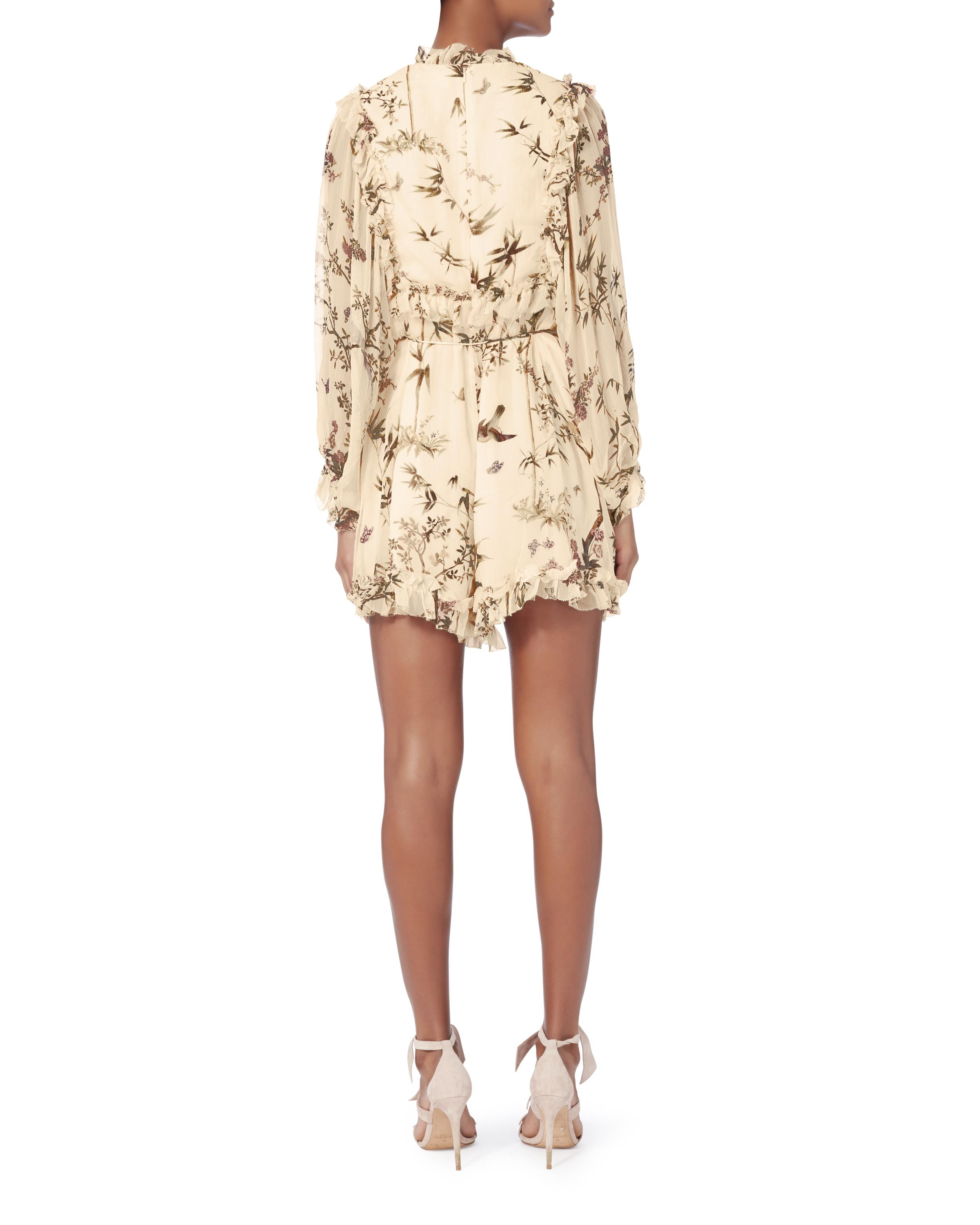 0ee79d5667 Lyst - Zimmermann Maples Frill Playsuit in Natural
