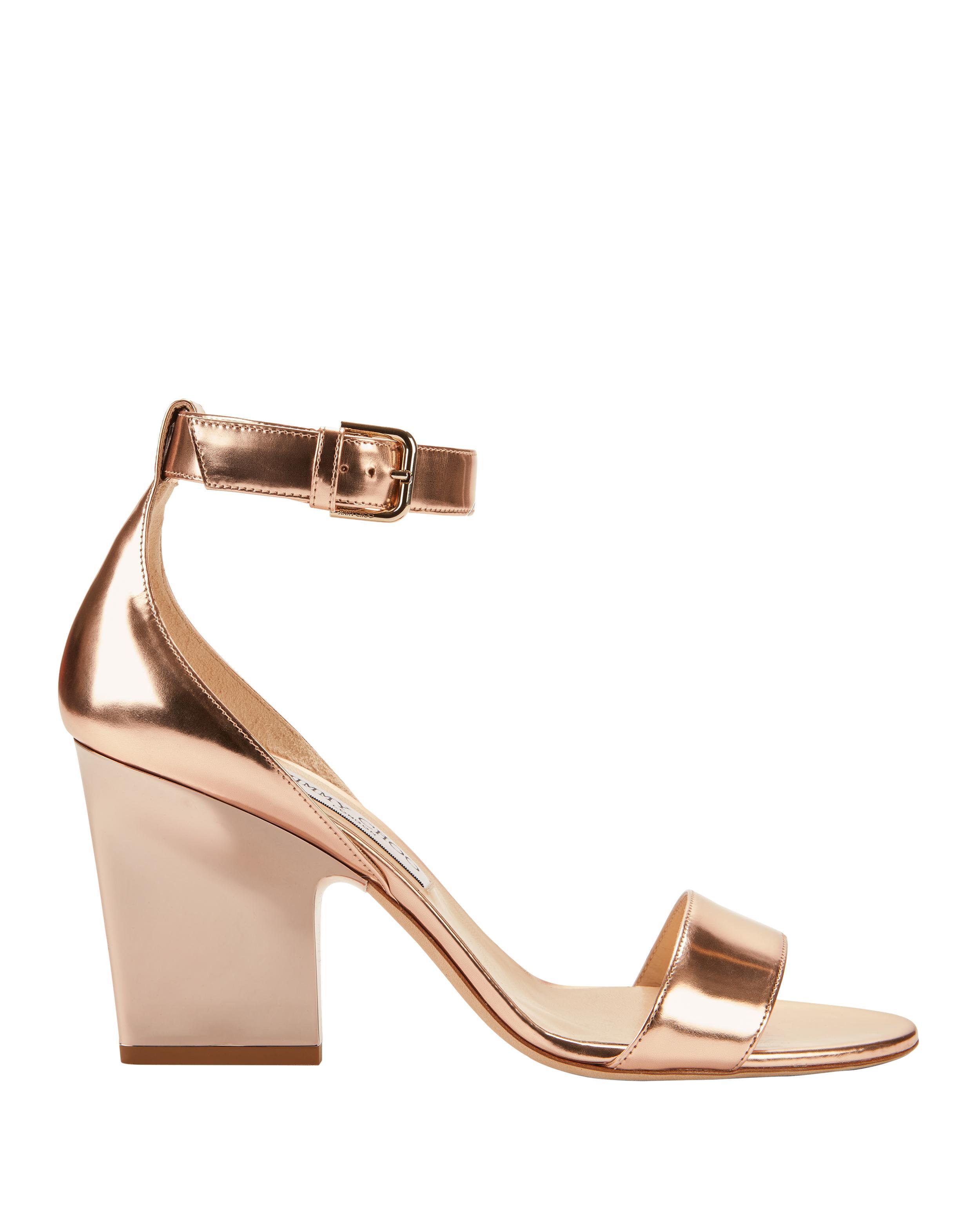 Lyst Jimmy Choo Edina Rose Gold Sandals