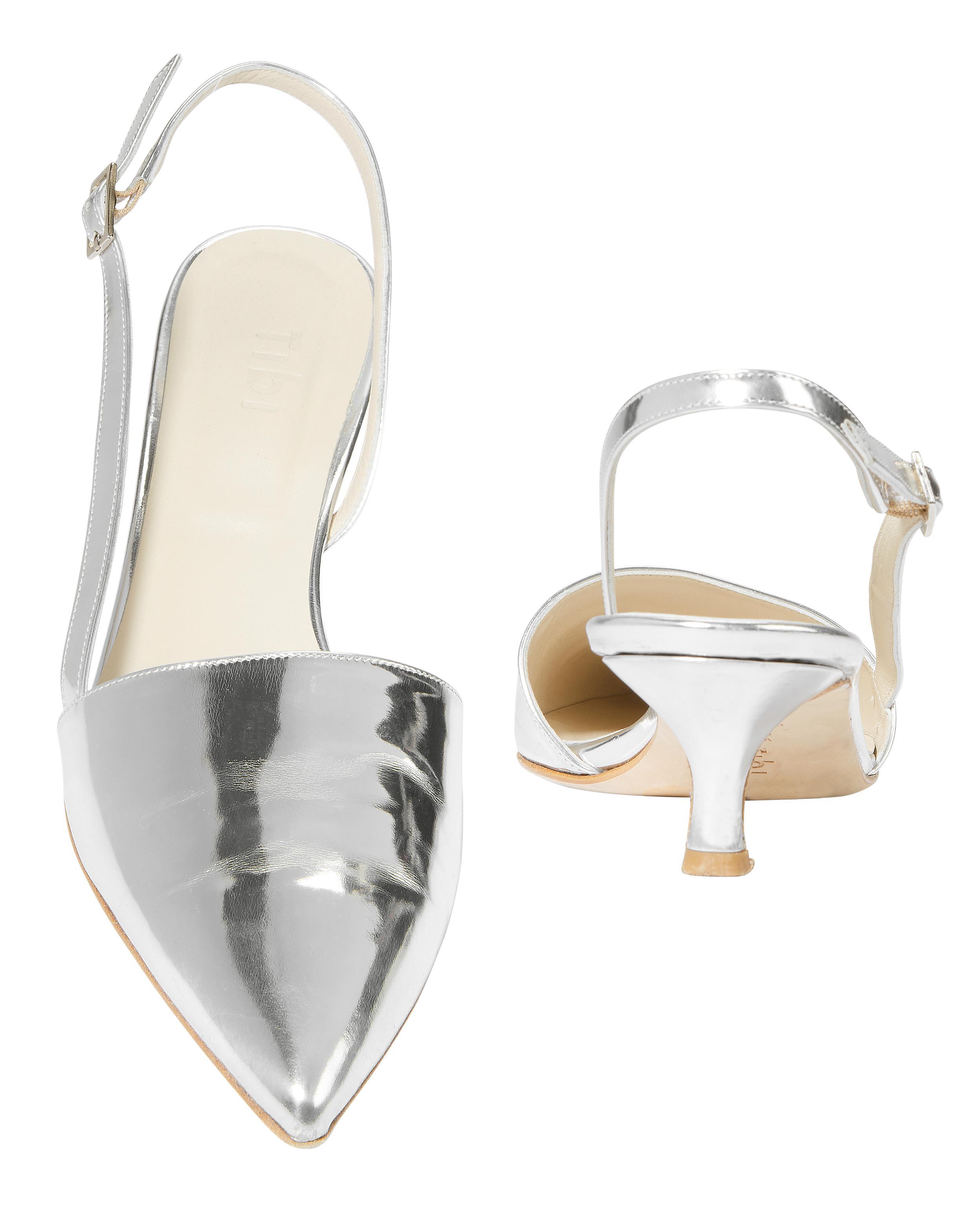 83f12d919d6 Lyst - Tibi Simon Slingback Kitten Heels in Metallic