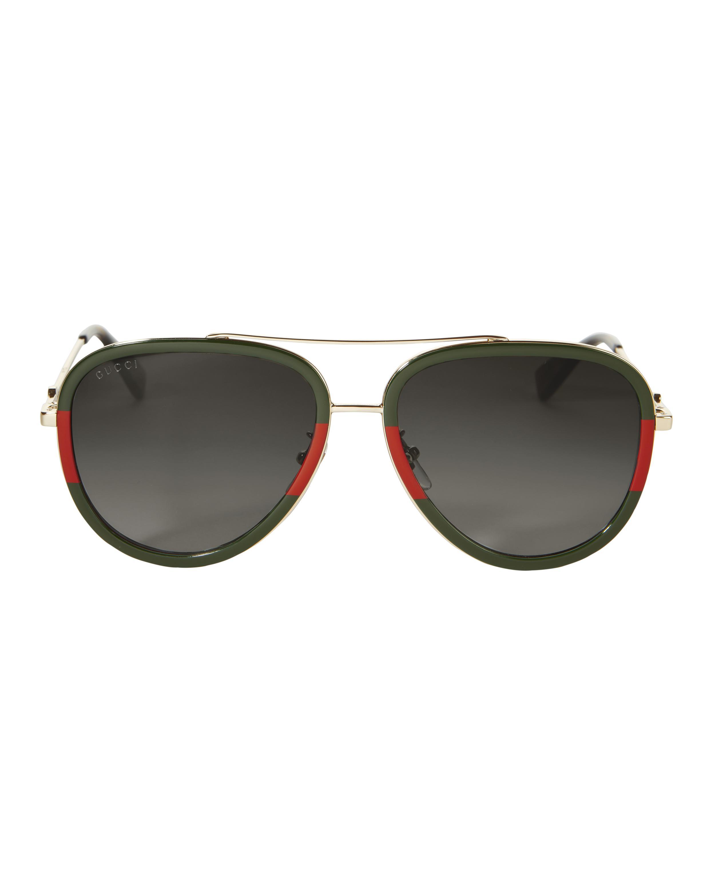 bdfc431374a Lyst - Gucci Bi-color Aviator Sunglasses in Metallic