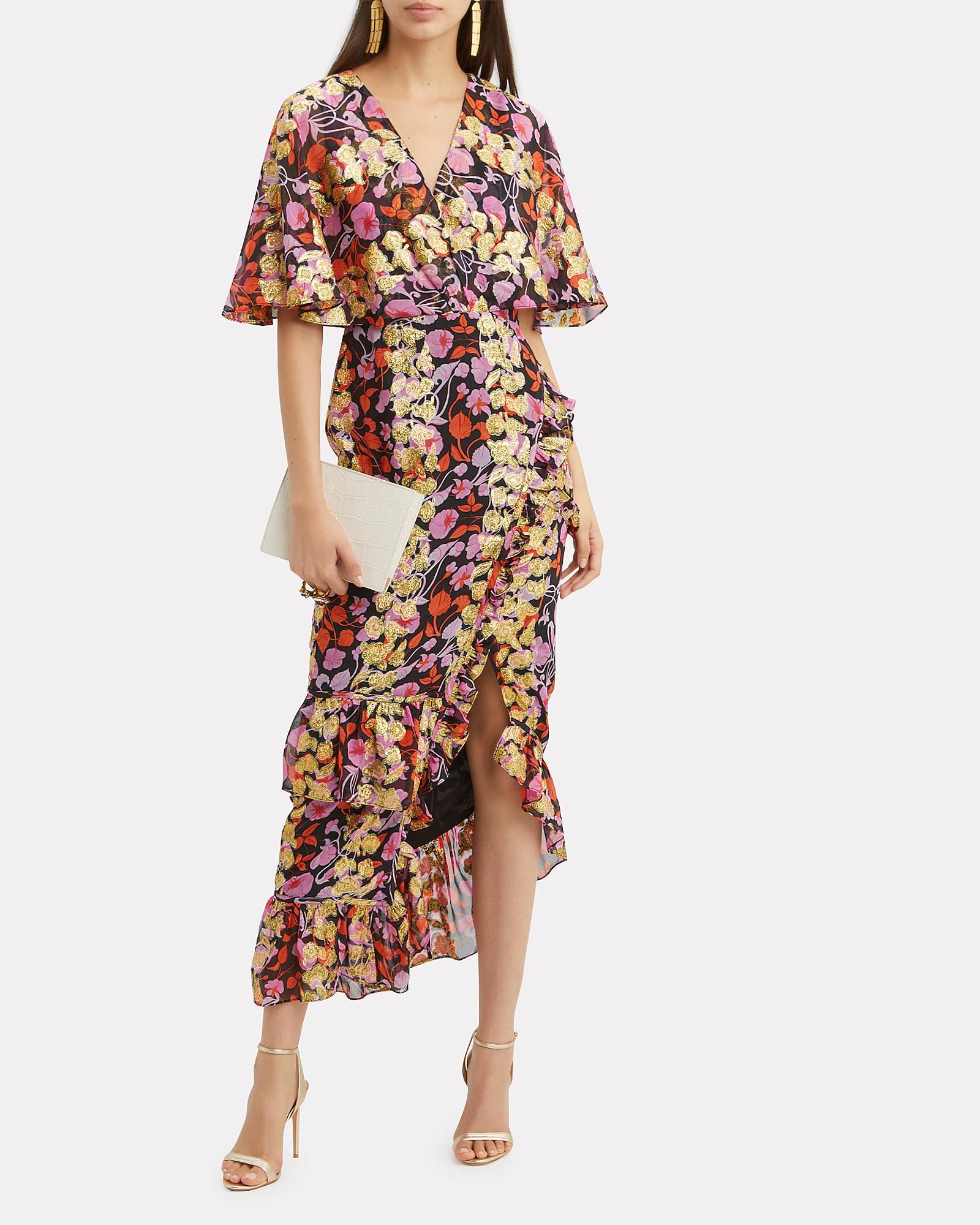 cffdf9ef7924 Lyst - Saloni Cape Overlay Metallic Floral Midi Dress