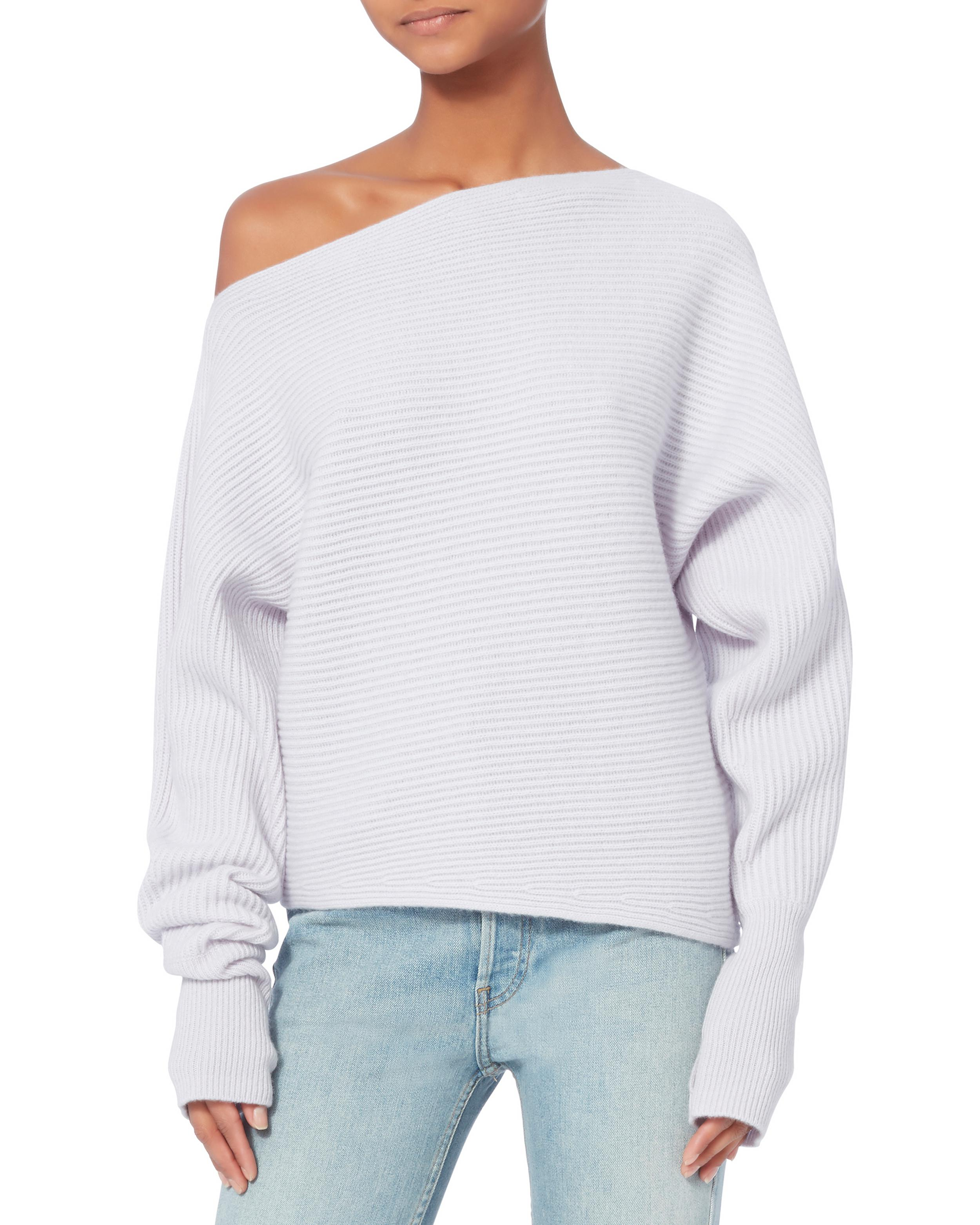 Exclusive for intermix Jacqueline Off Shoulder Light Blue Sweater ...