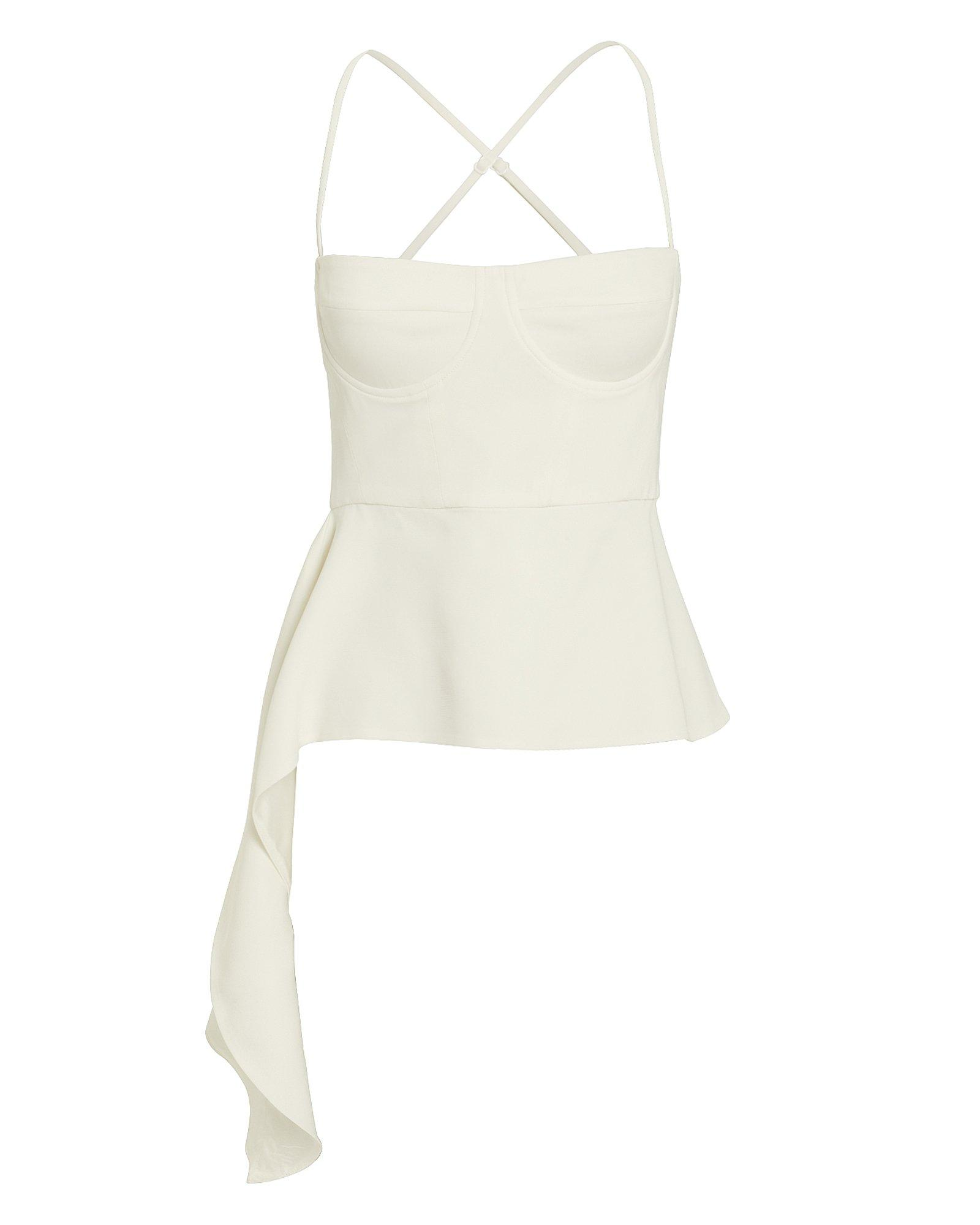 8e03356bb09821 Lyst - Michelle Mason Drape Accent Bustier Suiting Top in White