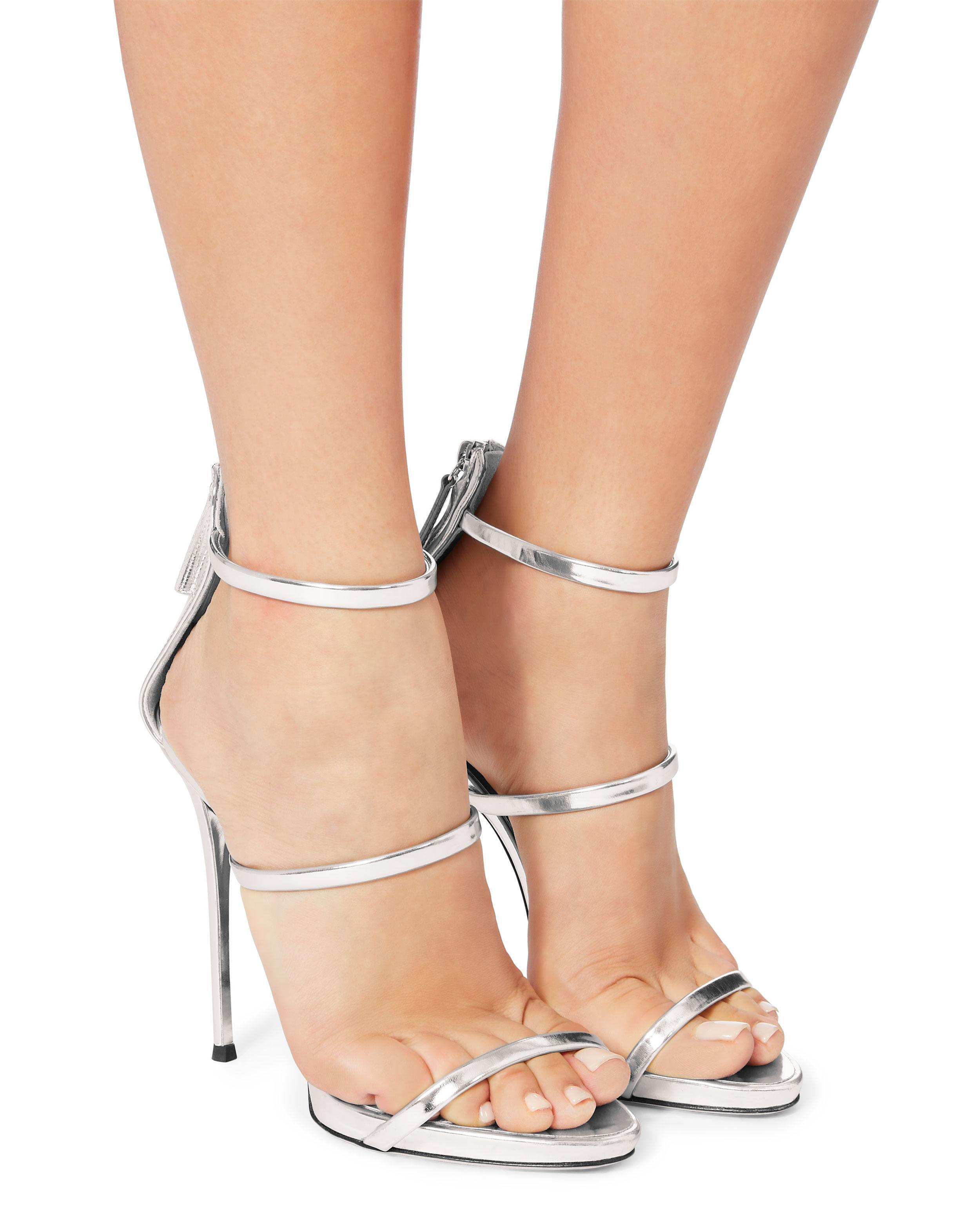 a23bd8e3a62 Lyst - Giuseppe Zanotti Coline Silver Strappy Sandals in Metallic - Save 57%