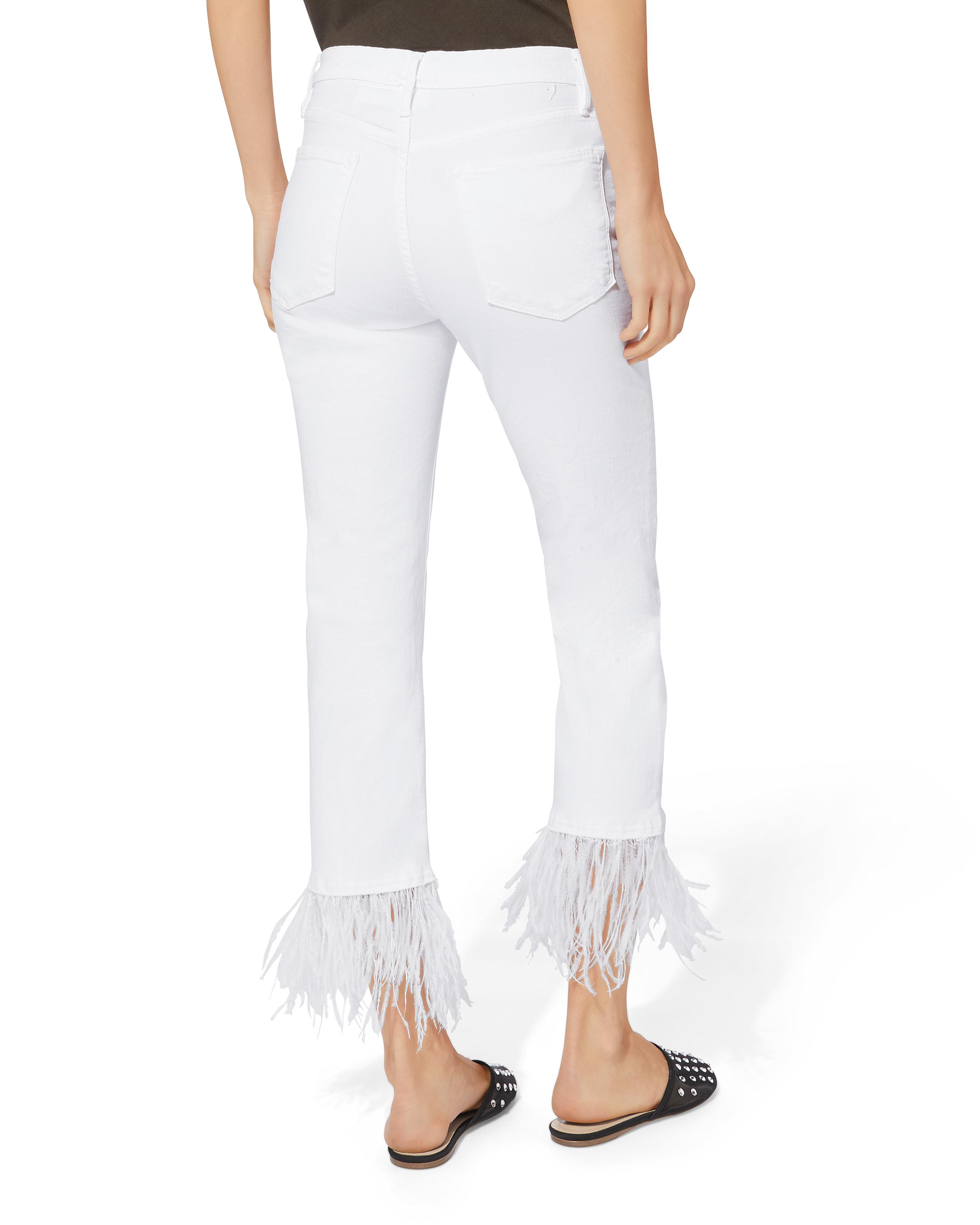 Lyst - Frame Le High Feather Cropped Jeans in White - Save ...