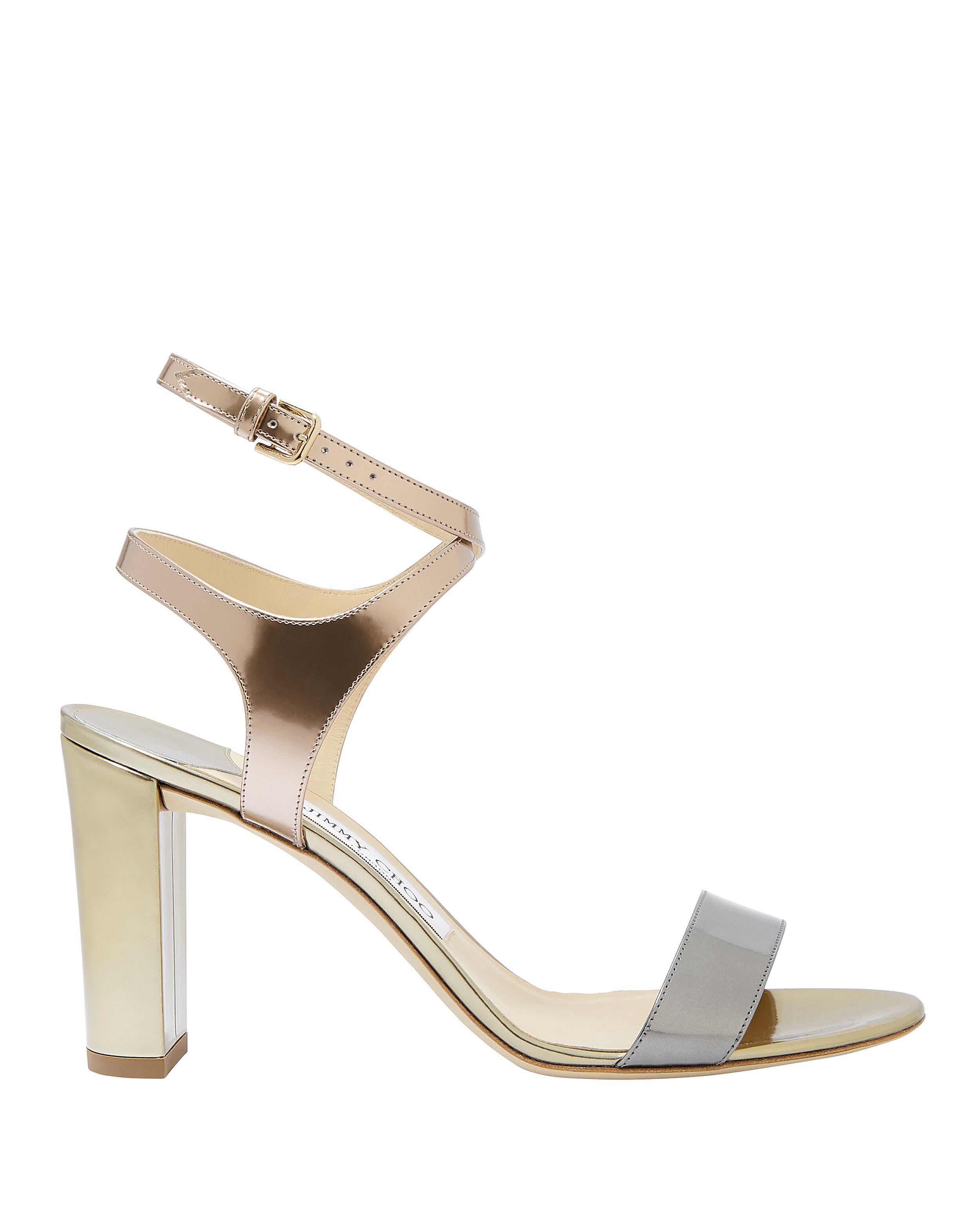 0736e78f1ed Lyst - Jimmy Choo Marine Metallic High Sandals in Metallic