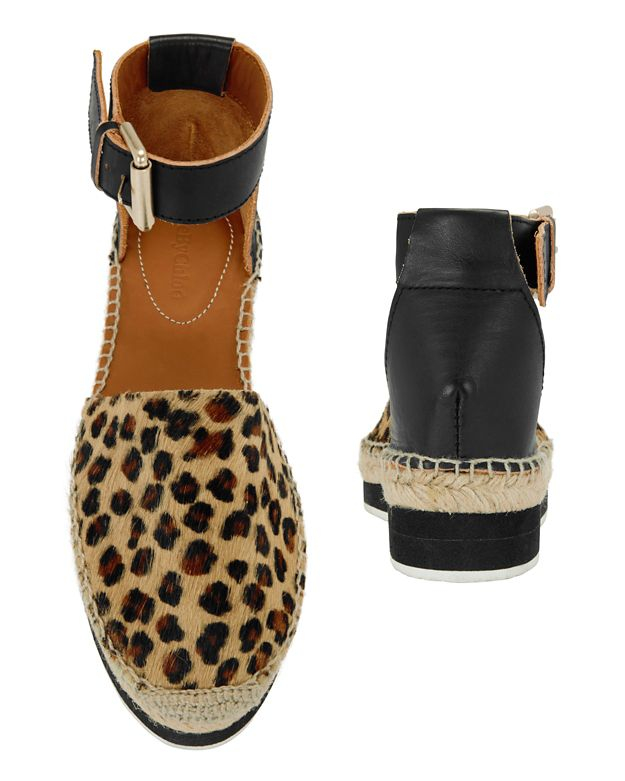 See By Chlo 233 Leopard Print Calfhair Flat Espadrille In