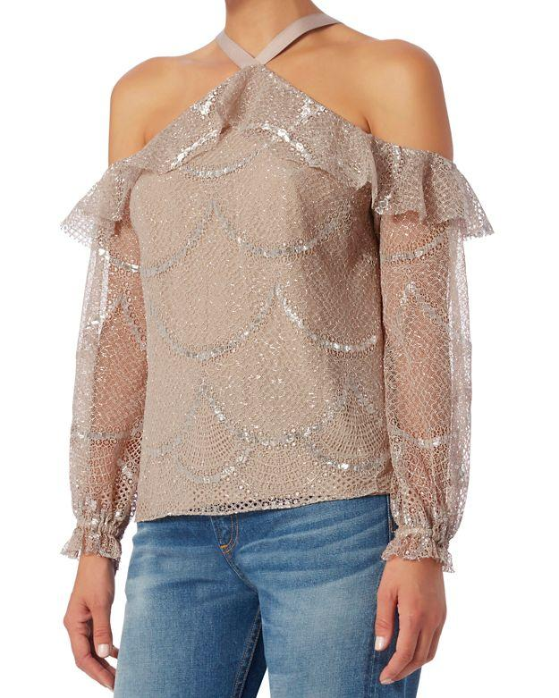 401eaf537c996 Lyst - Alexis Kylie Lace Cold Shoulder Top in Natural