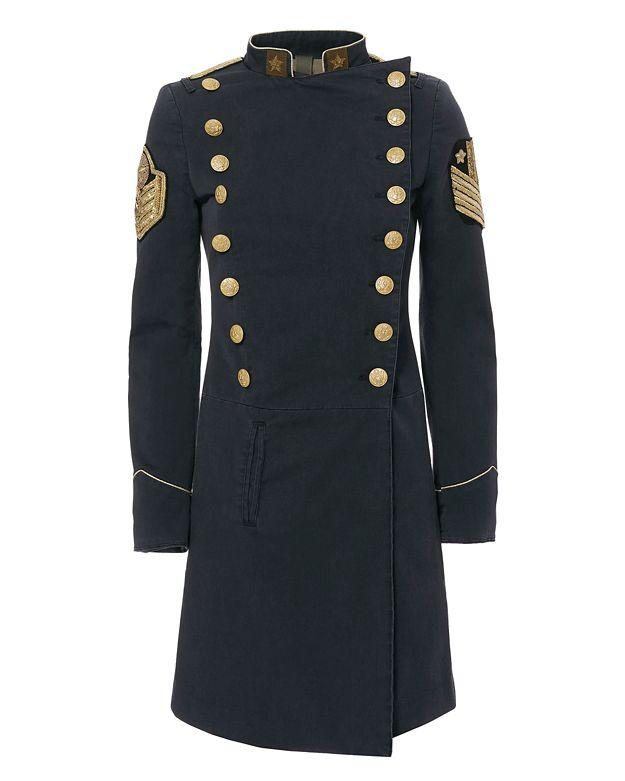 History Repeats Military Style Car Coat In Blue Lyst