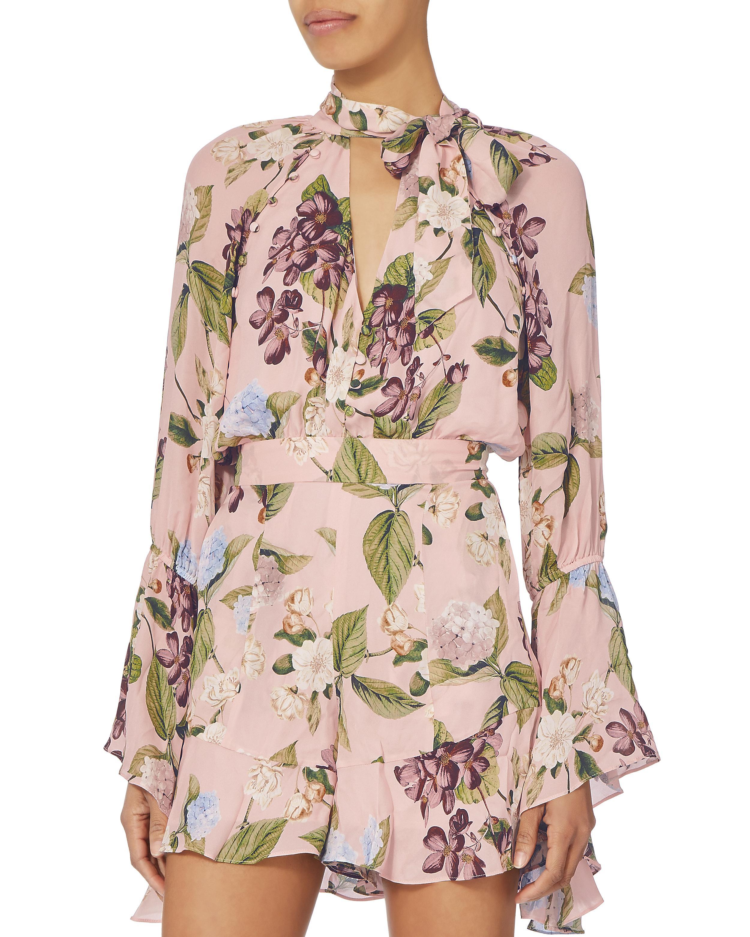 52989fd180eb Lyst - Nicholas Evie Floral Bell Sleeve Romper in Pink