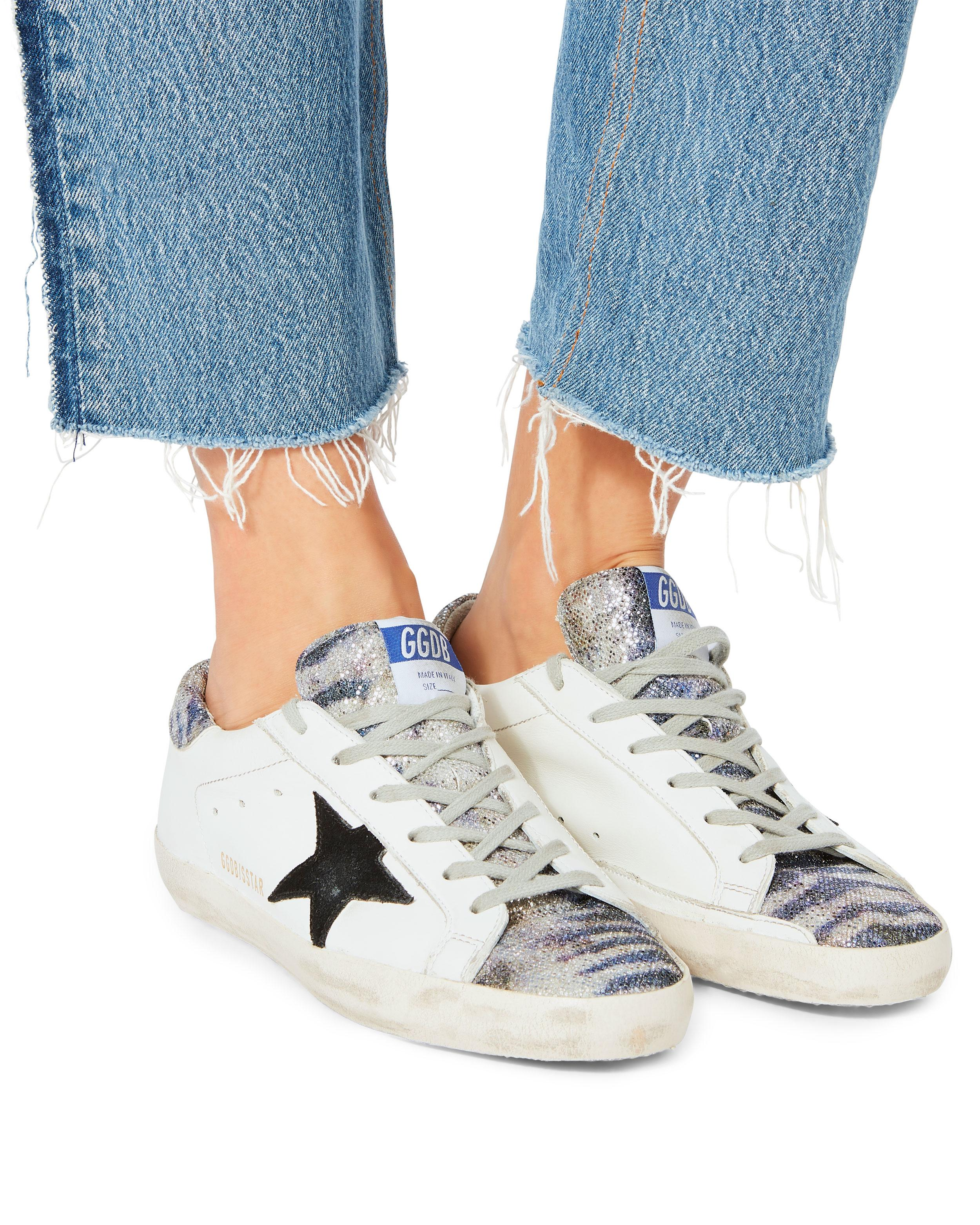 022485d173a Golden Goose Deluxe Brand - Superstar Zebra Glitter White Leather Sneakers  - Lyst