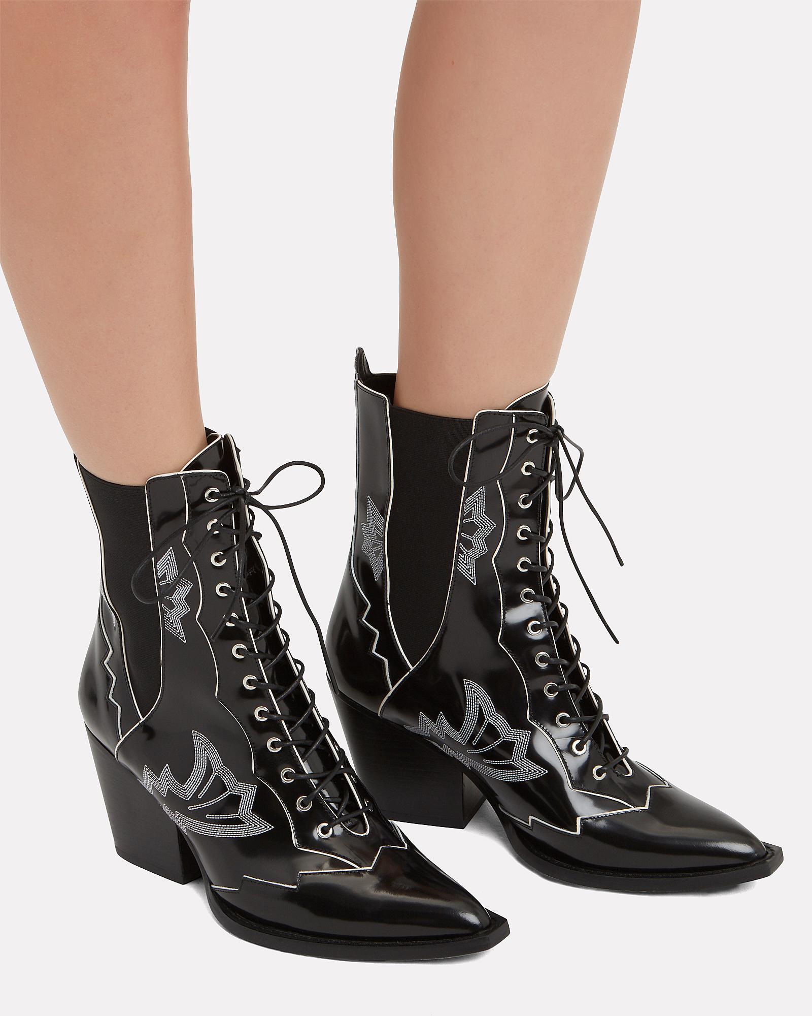a37940e226335 Lyst - Coach Western Stitch Black Booties in Black