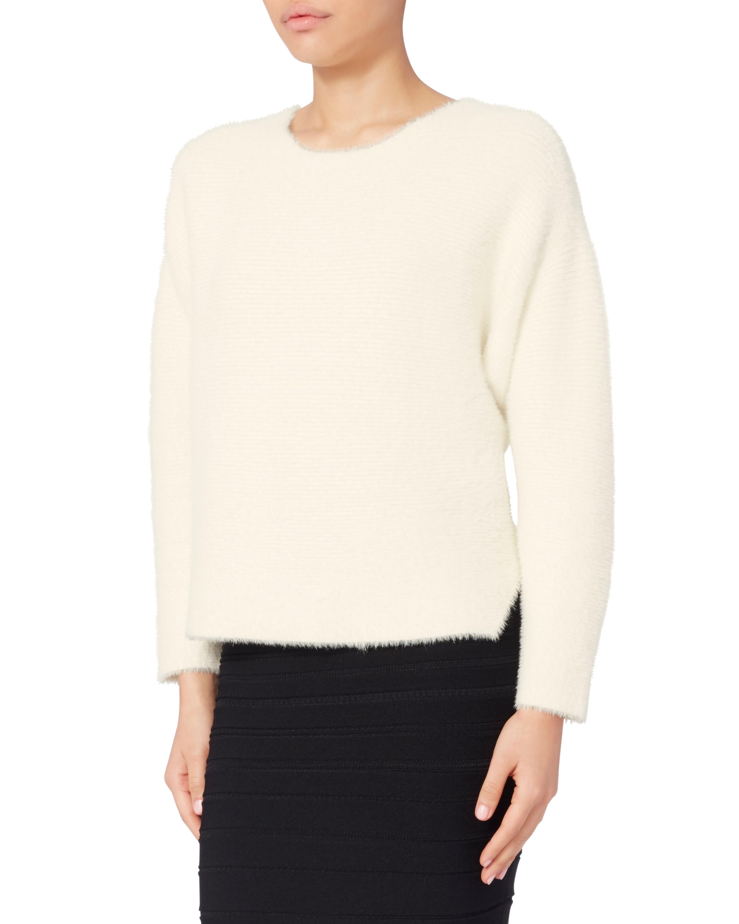 Michelle mason Oversized Cropped Sweater in White | Lyst