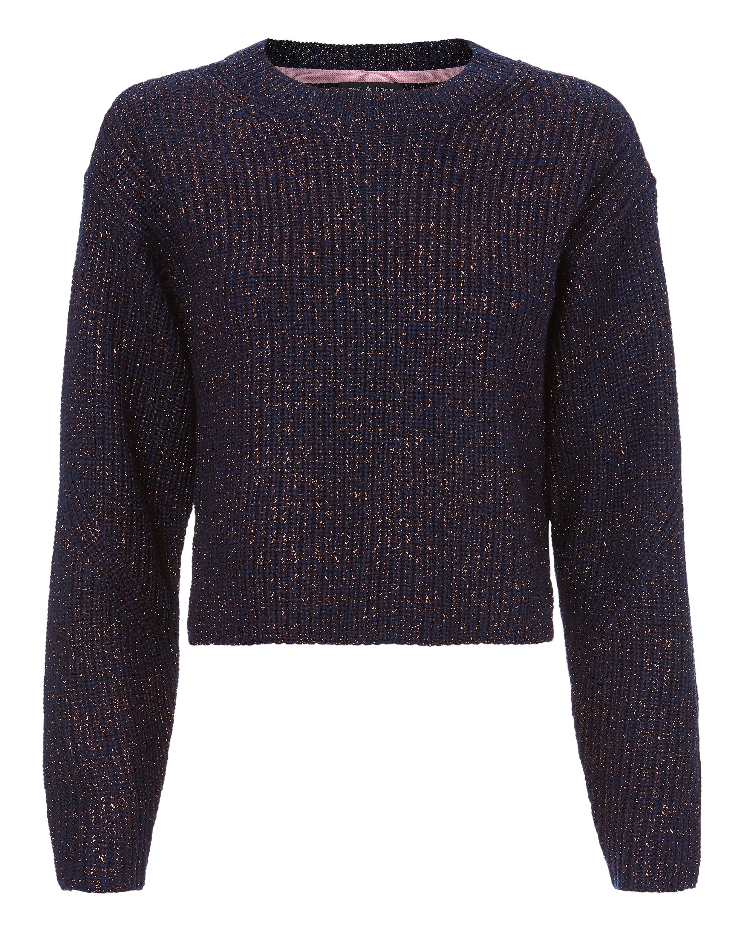 Rag & bone Jubilee Lurex Navy Cropped Sweater in Blue | Lyst