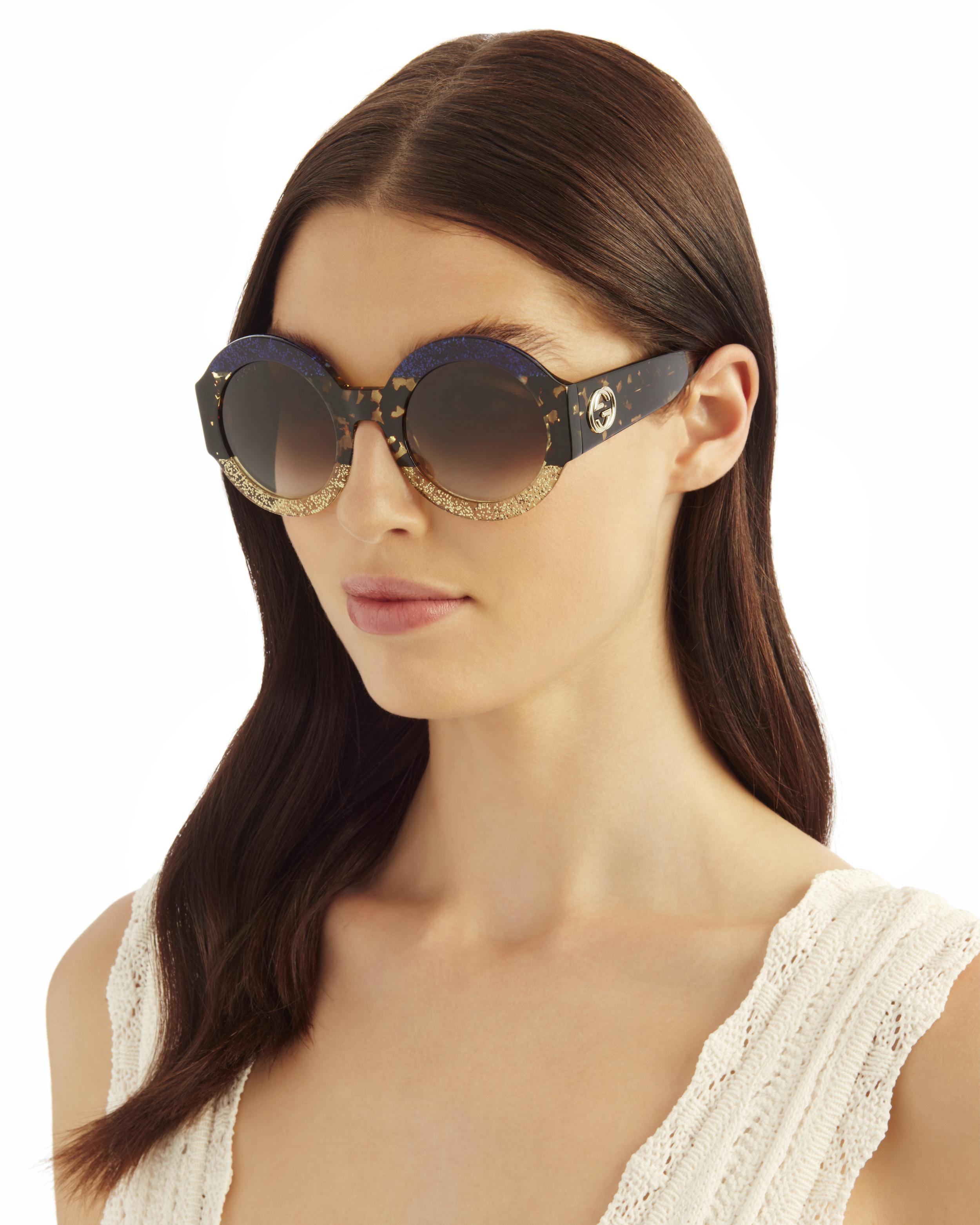 cc9ddf70373a Gucci Oversized Colorblock Glitter Round Sunglasses in Brown - Lyst