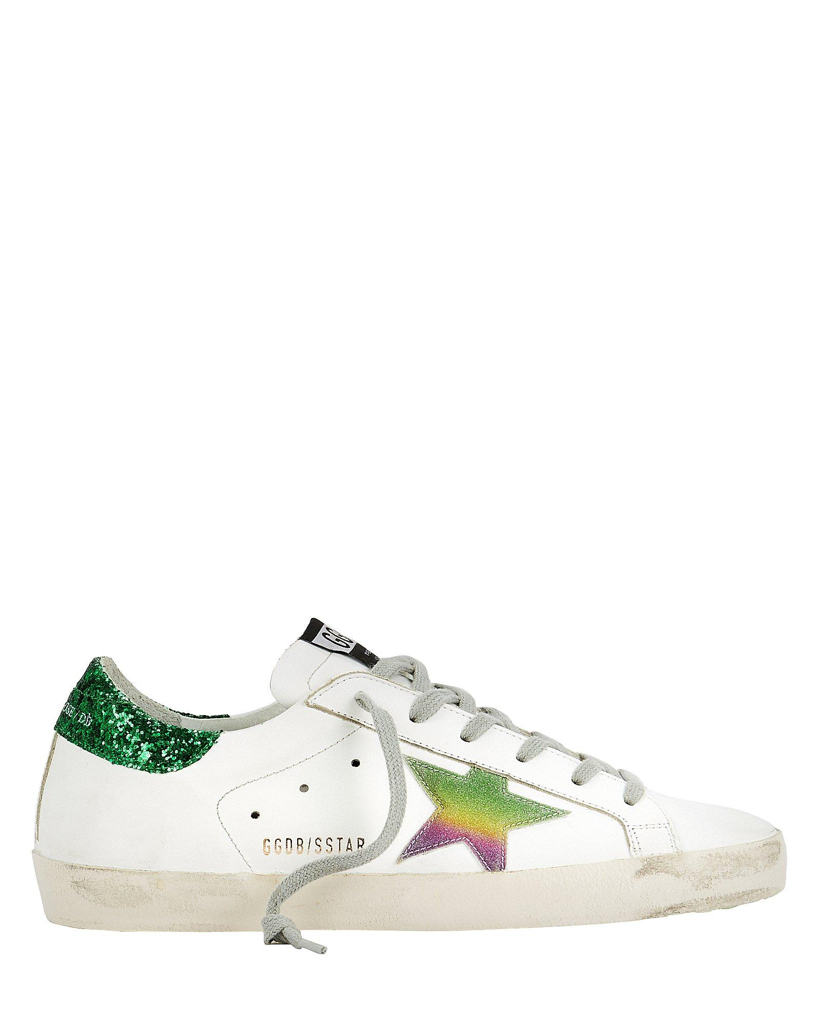 e2f16a51c0f Lyst - Golden Goose Deluxe Brand Superstar Green Glitter Back Low ...