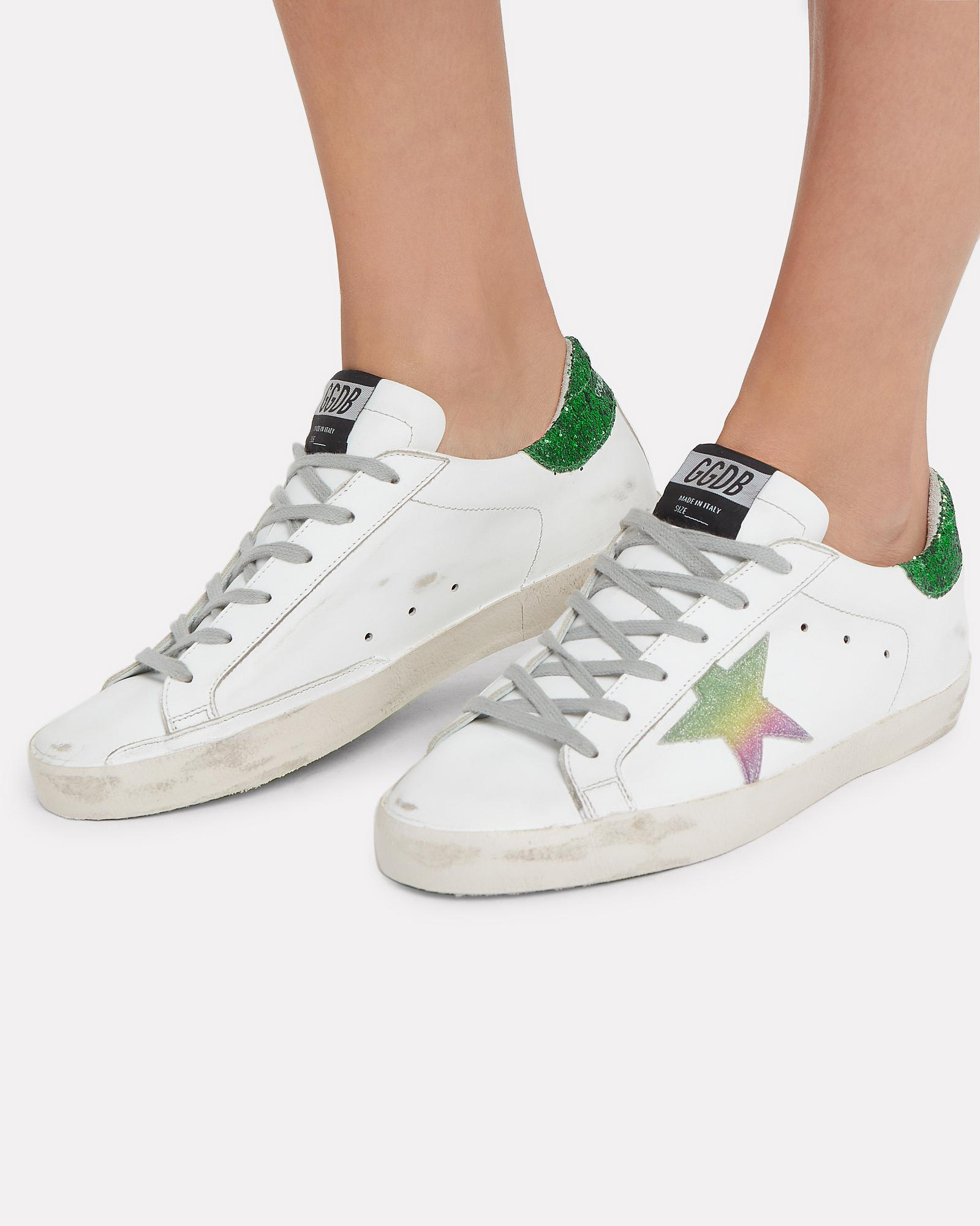 0b2446cb936 Lyst - Golden Goose Deluxe Brand Superstar Green Glitter Back Low-top  Sneakers in Green