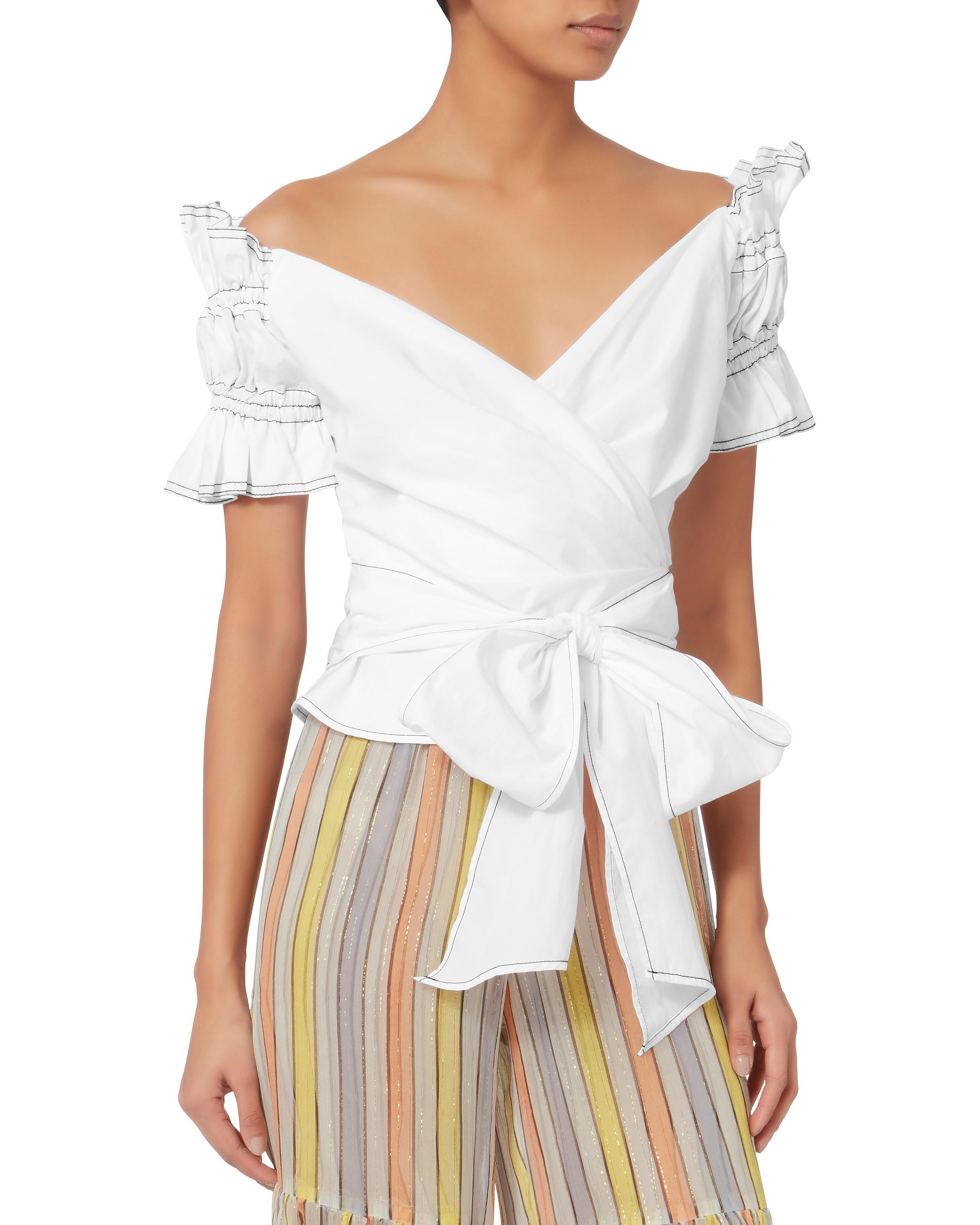 4da06732cc7d2 Lyst - Jonathan Simkhai Ruched Off Shoulder Wrap Top in White