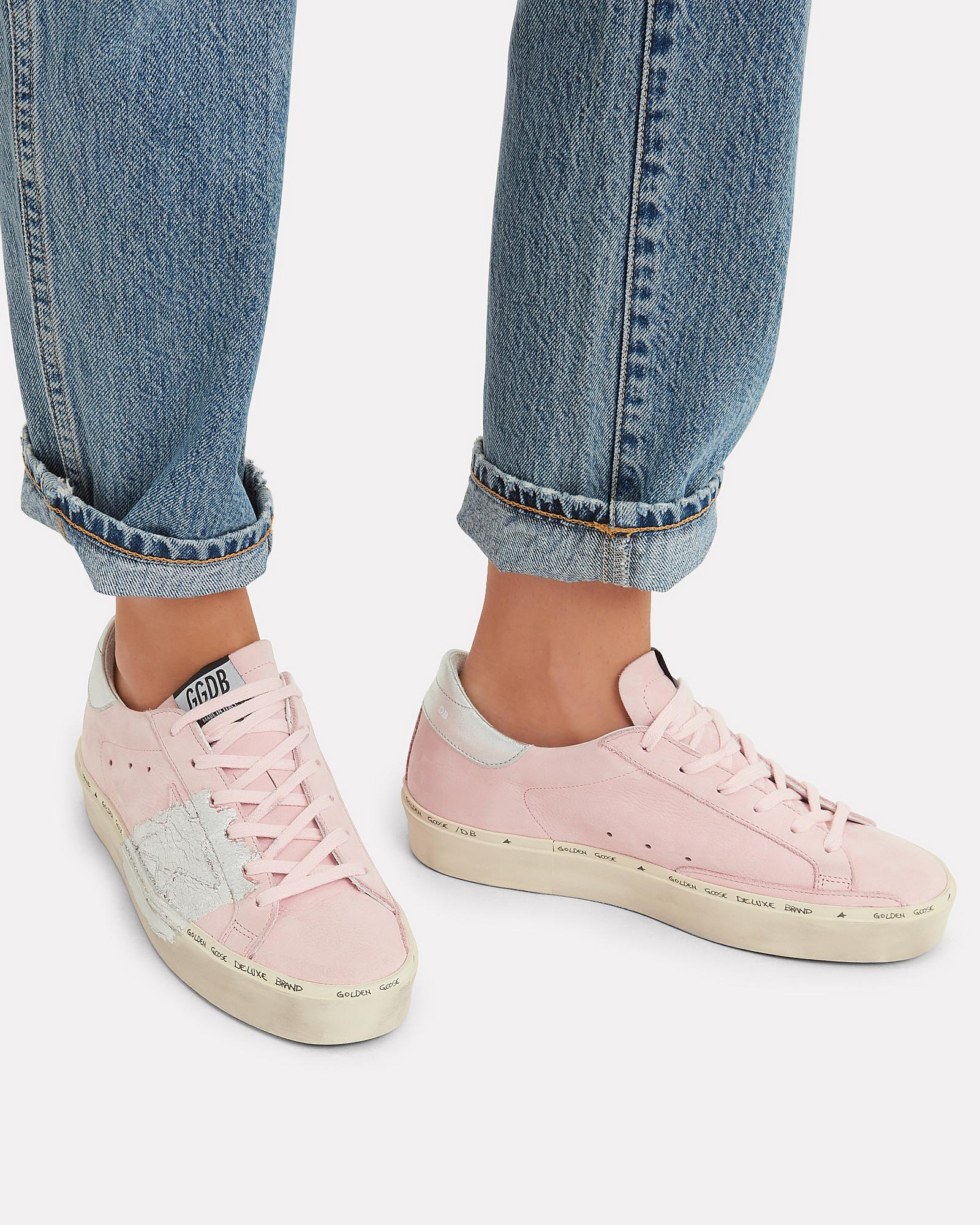 4ec7144efc9c Lyst - Golden Goose Deluxe Brand Hi Star Silver Paint Pink Leather Low-top  Sneakers in Pink - Save 21%