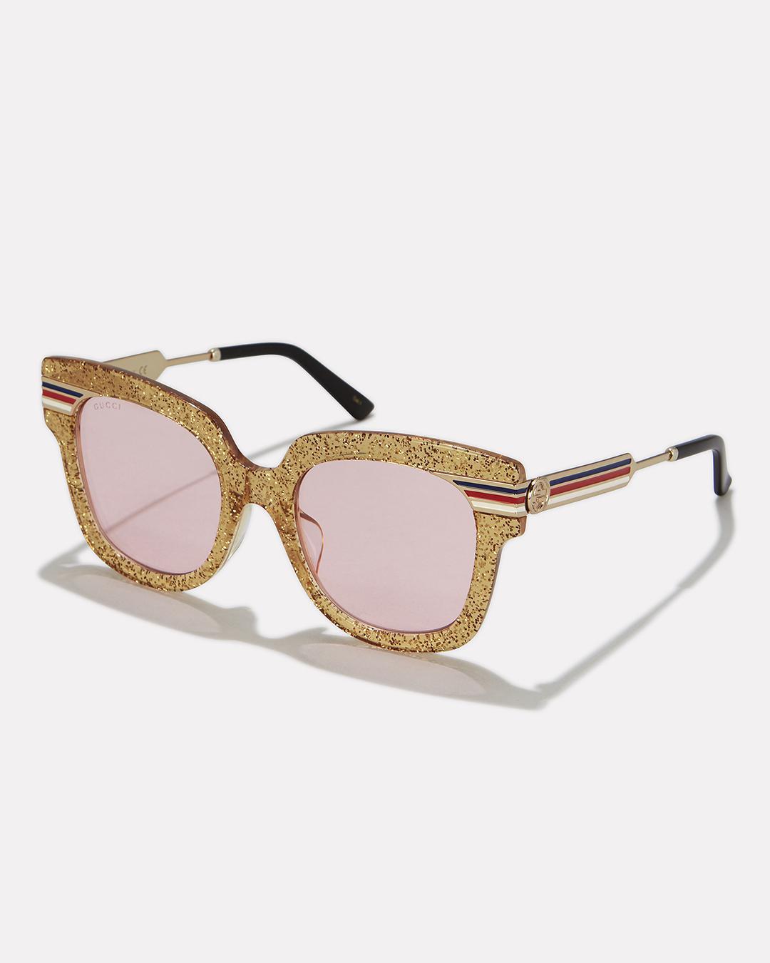 72c83b6bf3 Gucci Gold Glitter Pink Lens Sunglasses in Metallic - Lyst