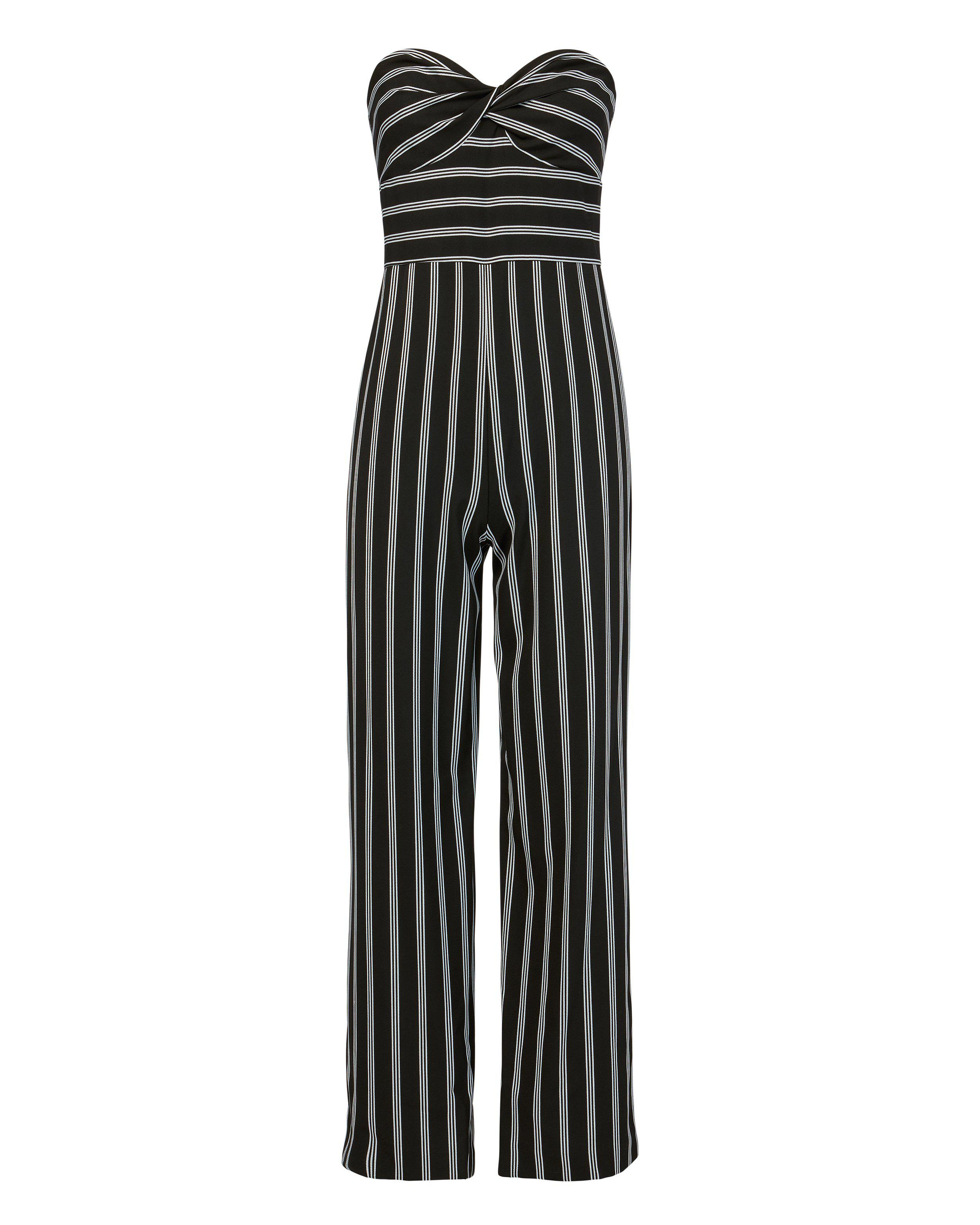 53ae856c0a3 Lyst - Veronica Beard Cypress Striped Cropped Jumpsuit in Black