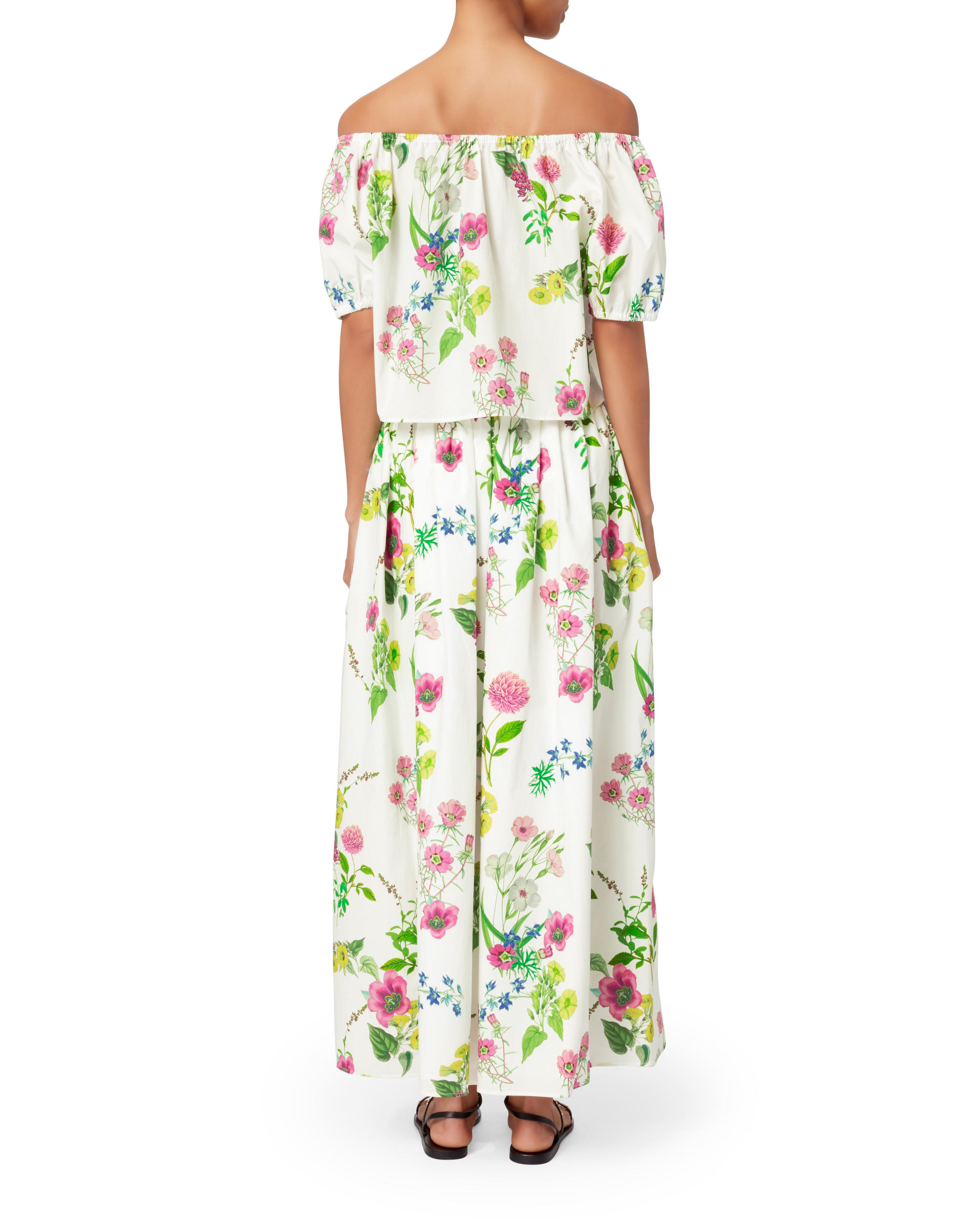 779e5174e6536e Lyst - MDS Stripes Floral Off Shoulder Crop Top in Green