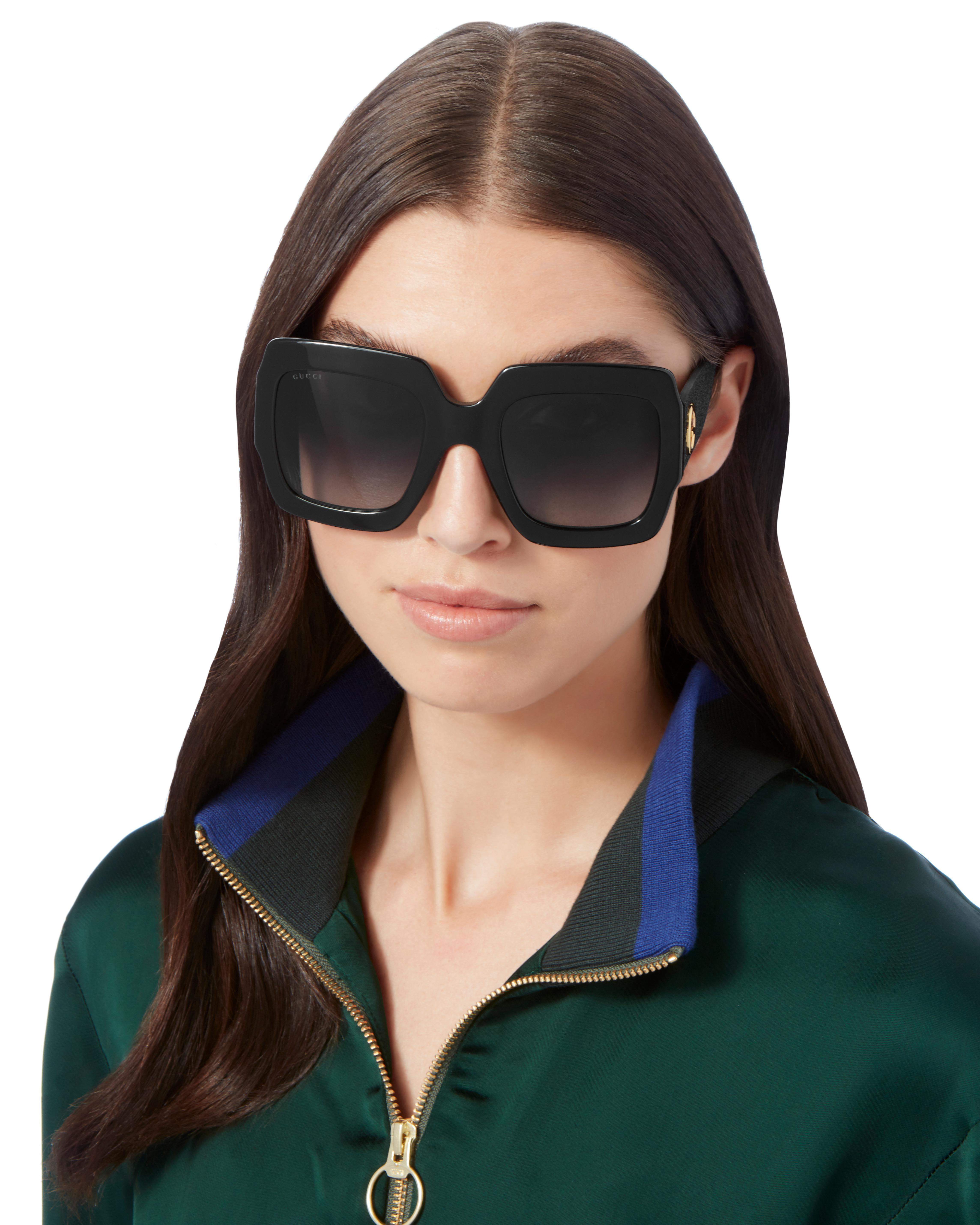 44ff1cbfd08 Lyst - Gucci Oversized Glitter Square Sunglasses in Black