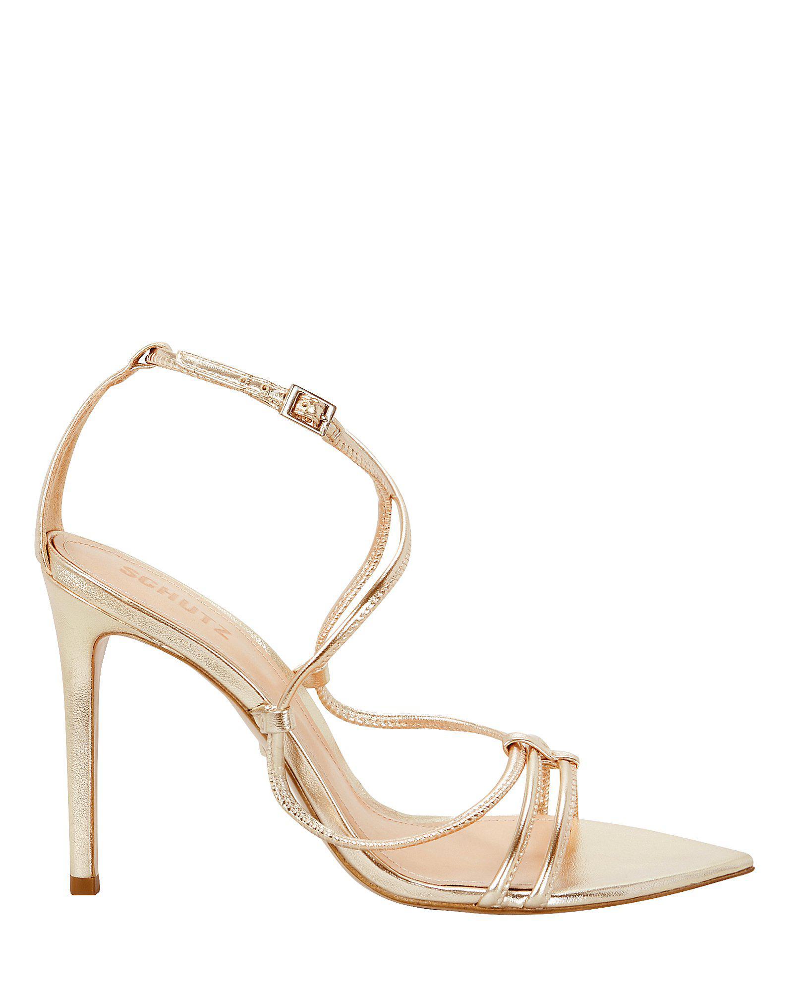 336f04d6269 Schutz - Metallic Evellyn Strappy Gold Leather Sandals - Lyst. View  fullscreen