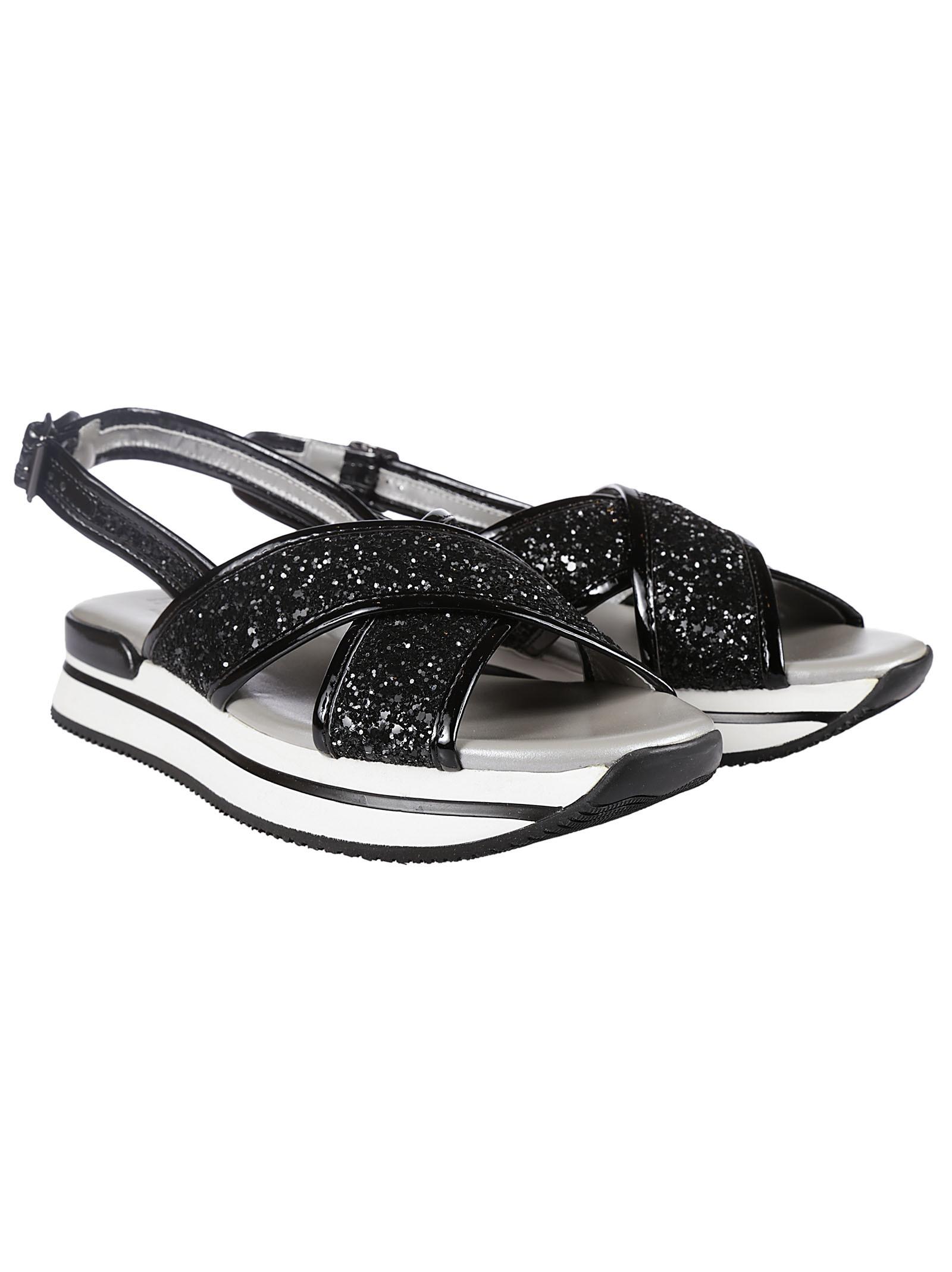 glitter crisscross wedge sandals in black lyst