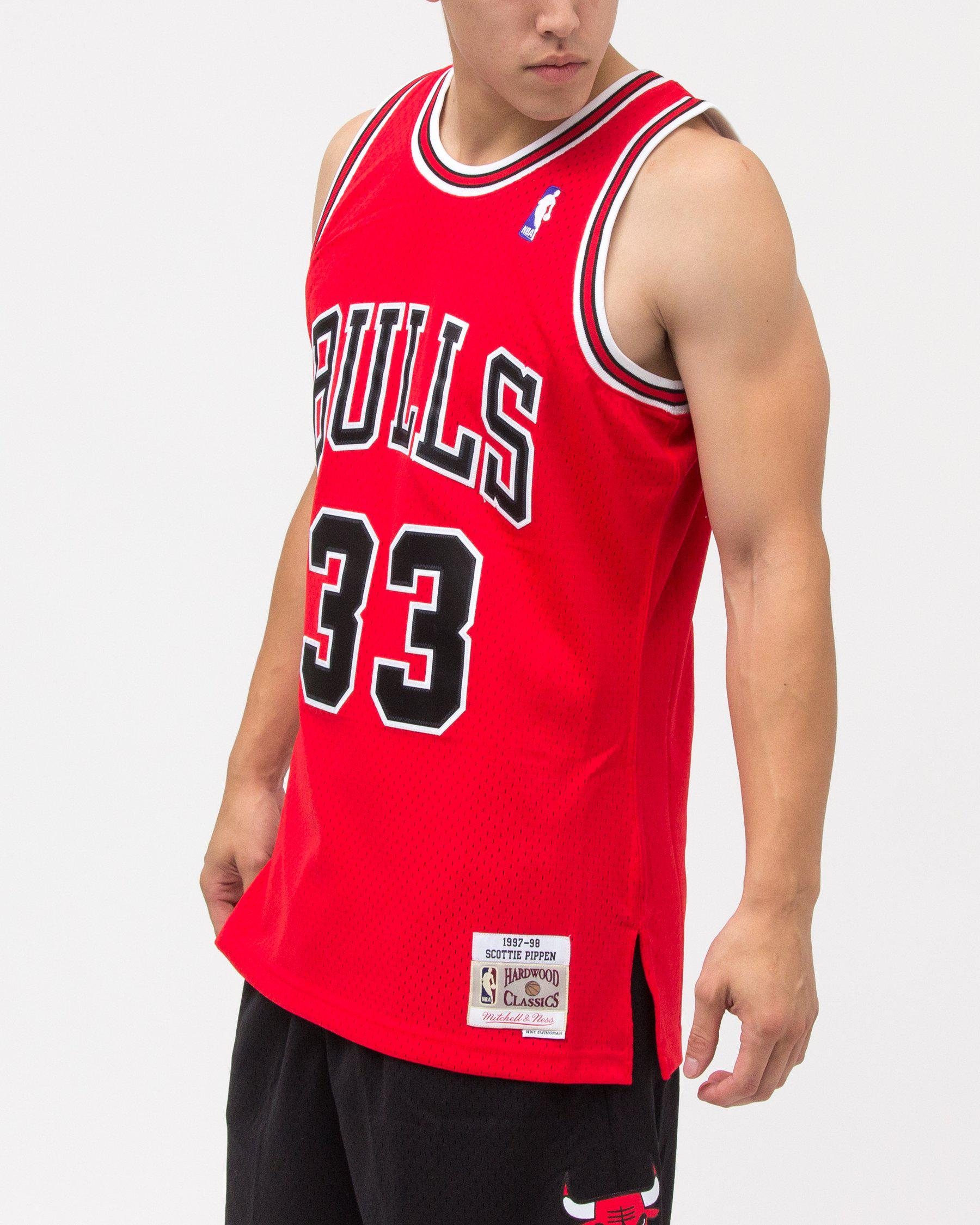 abc7fdd8f ... 1997-98 Chicago Bulls Swingma  Lyst - Mitchell Ness Scottie Pippen  Swingman Jersey in Red ...