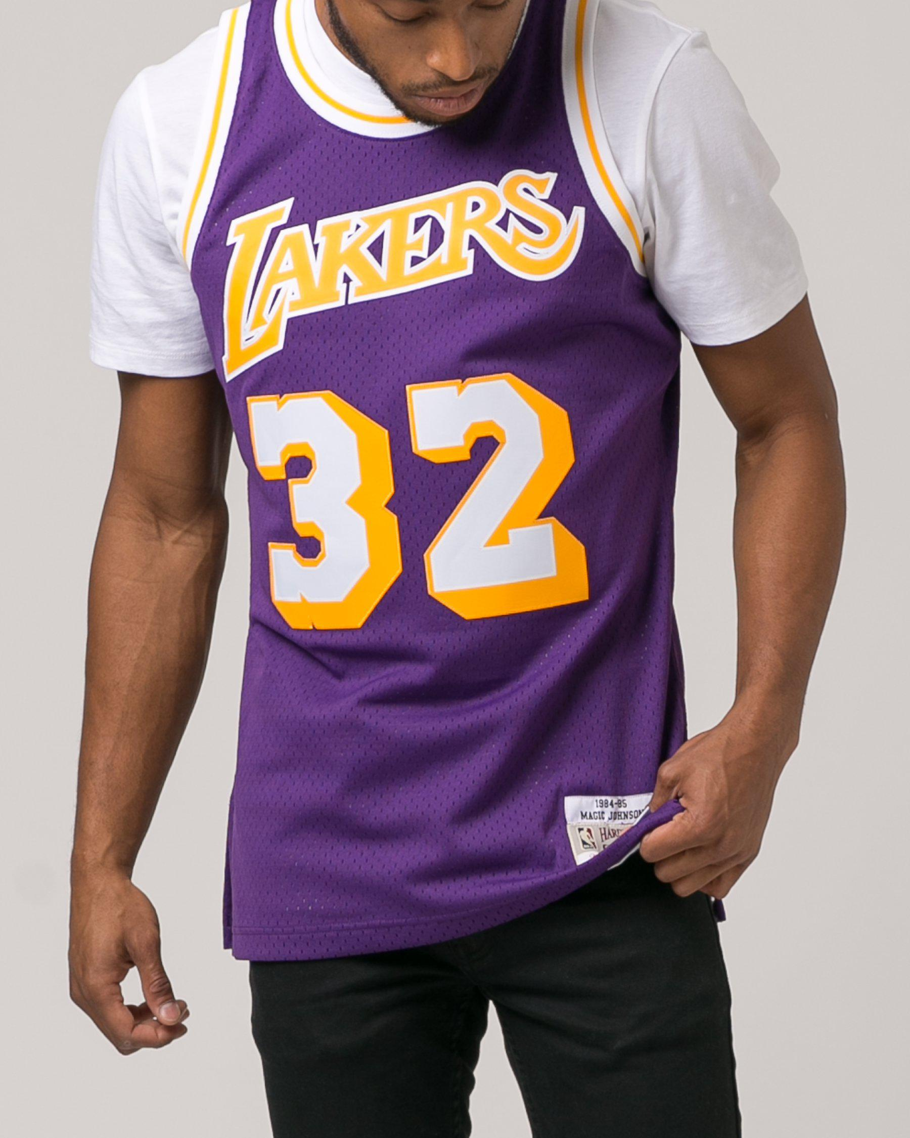 363ba4c5a ... lyst mitchell ness magic johnson swingman jersey in purple for men