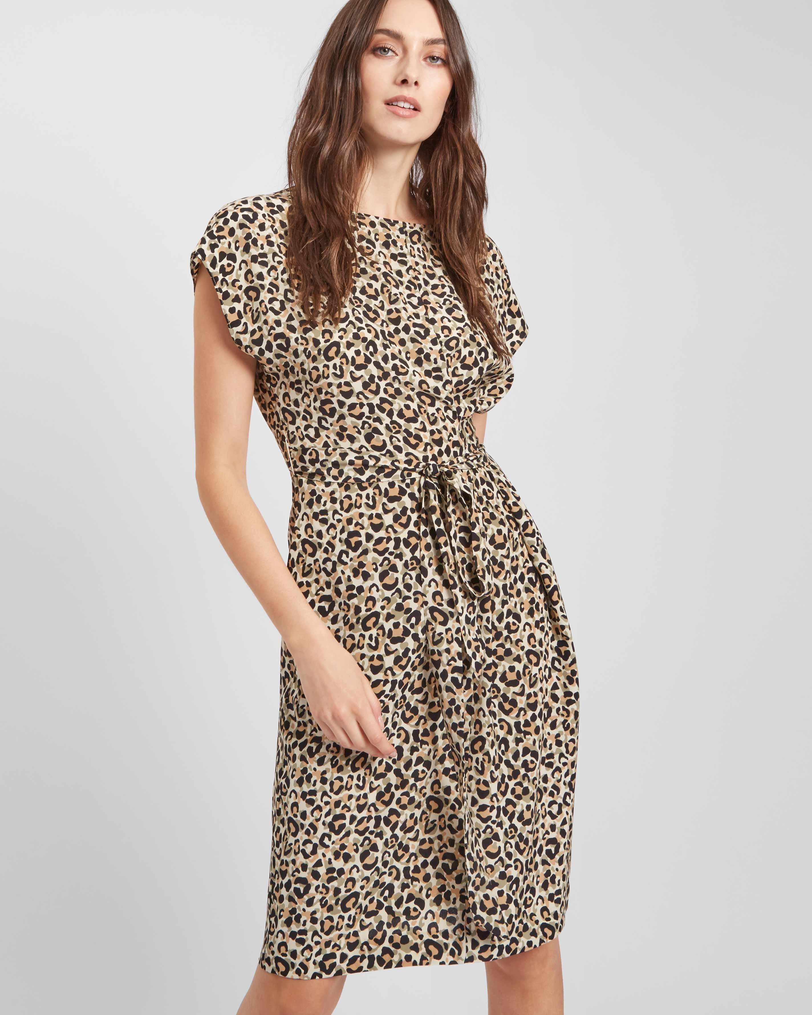 Lyst - Jaeger Silk Leopard Print Wrap Dress in White b03745a2a