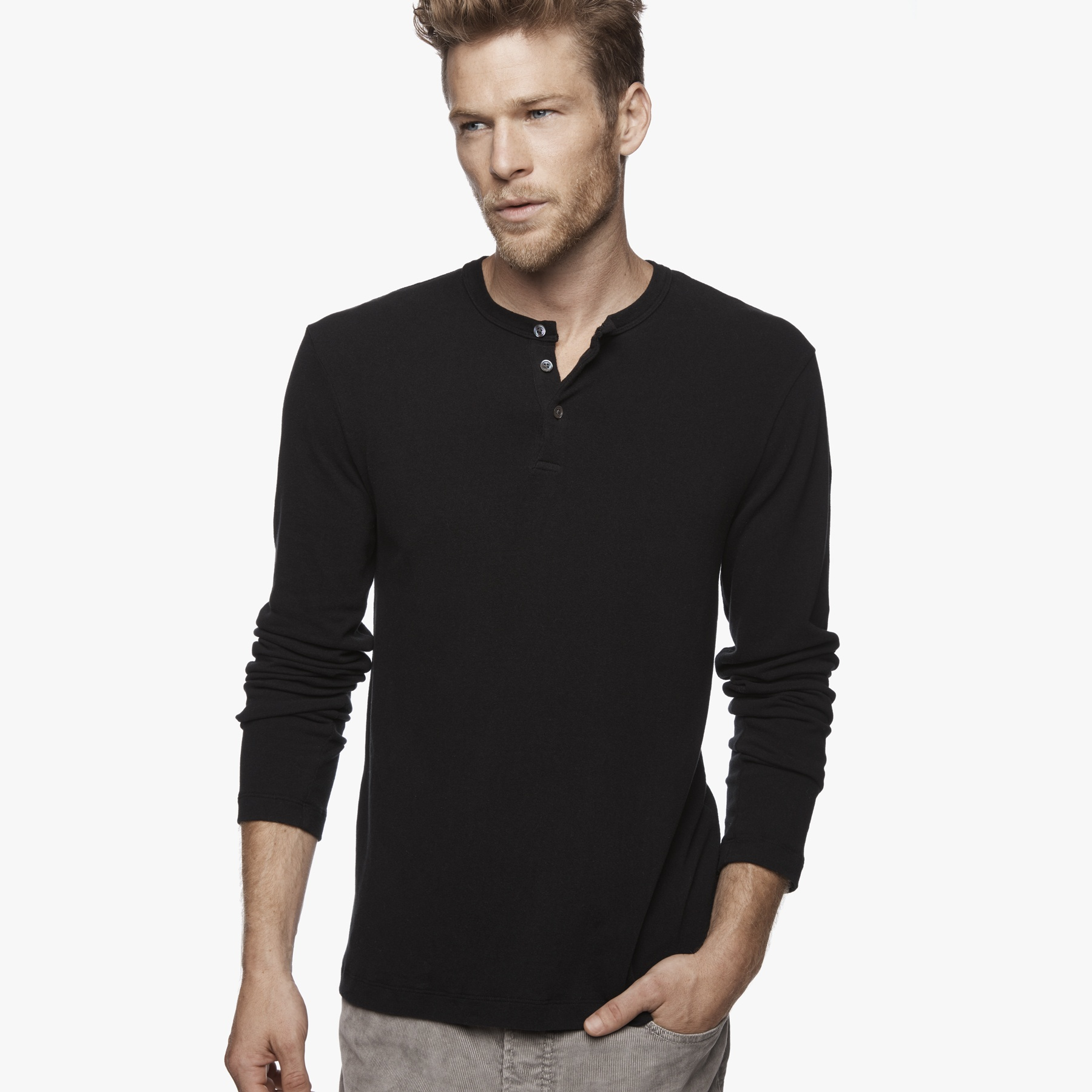 James perse brushed jersey henley in black for men lyst for James perse henley shirt