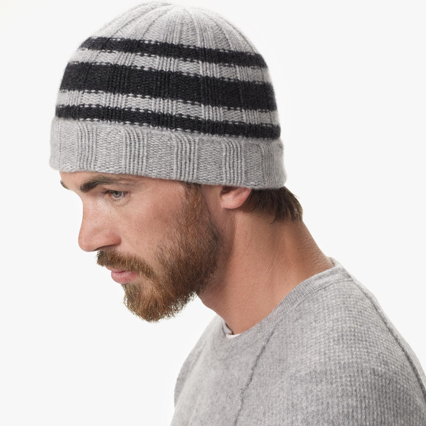 d5298b1a75aa9 Lyst - James Perse Cashmere Triple Stripe Beanie in Gray for Men