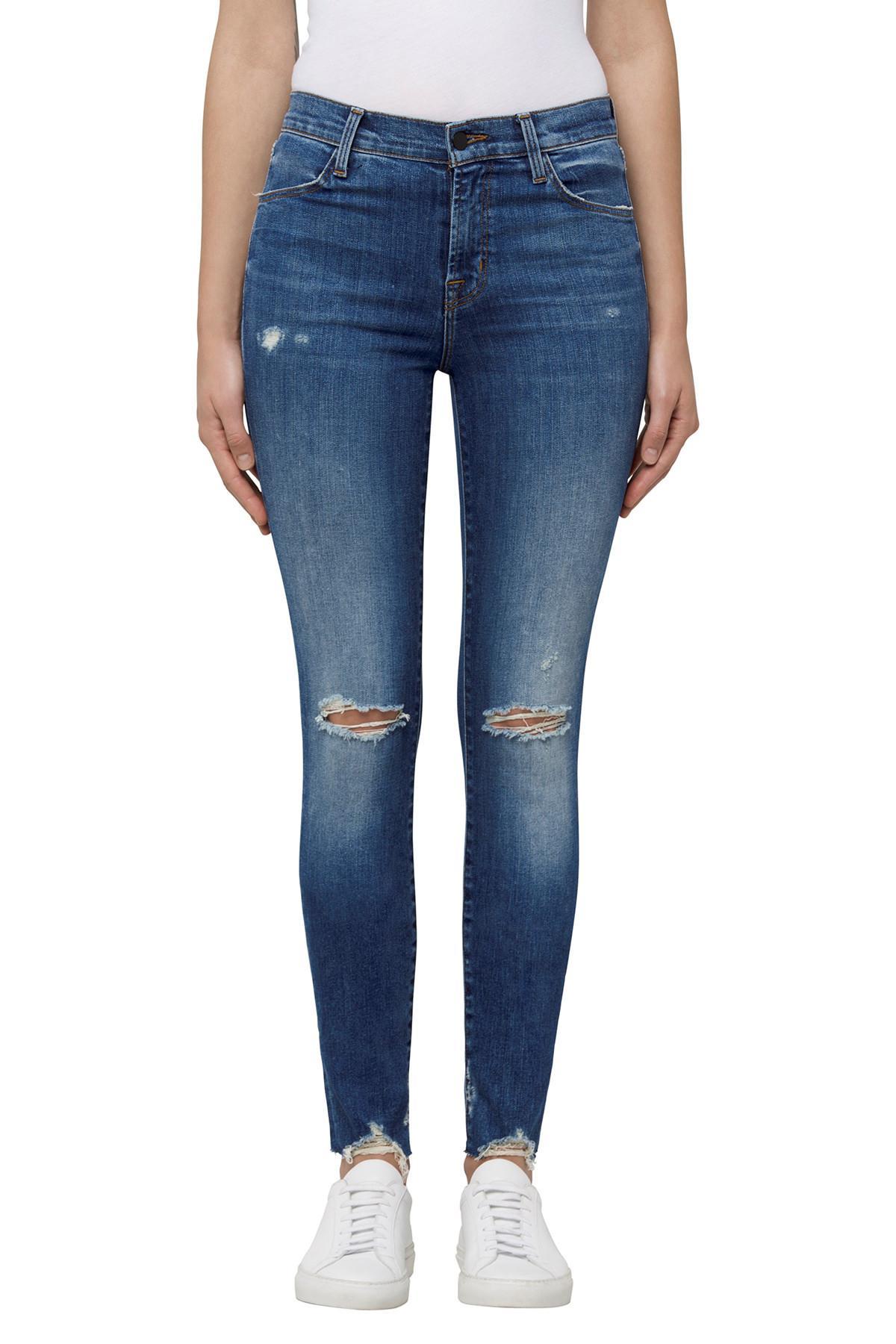 Maria High Rise Skinny Jeans With Distressed Knee And Hem - Revoke destruct blue J Brand pKvhoJ
